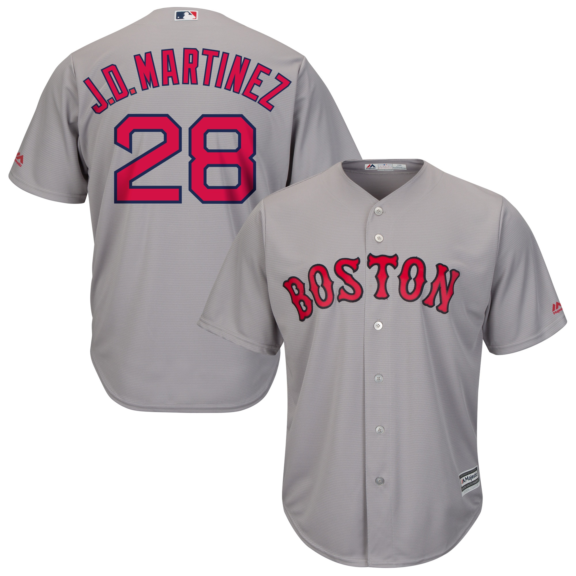 J.D. Martinez Boston Red Sox Majestic Road Official Cool Base Player Jersey - Gray