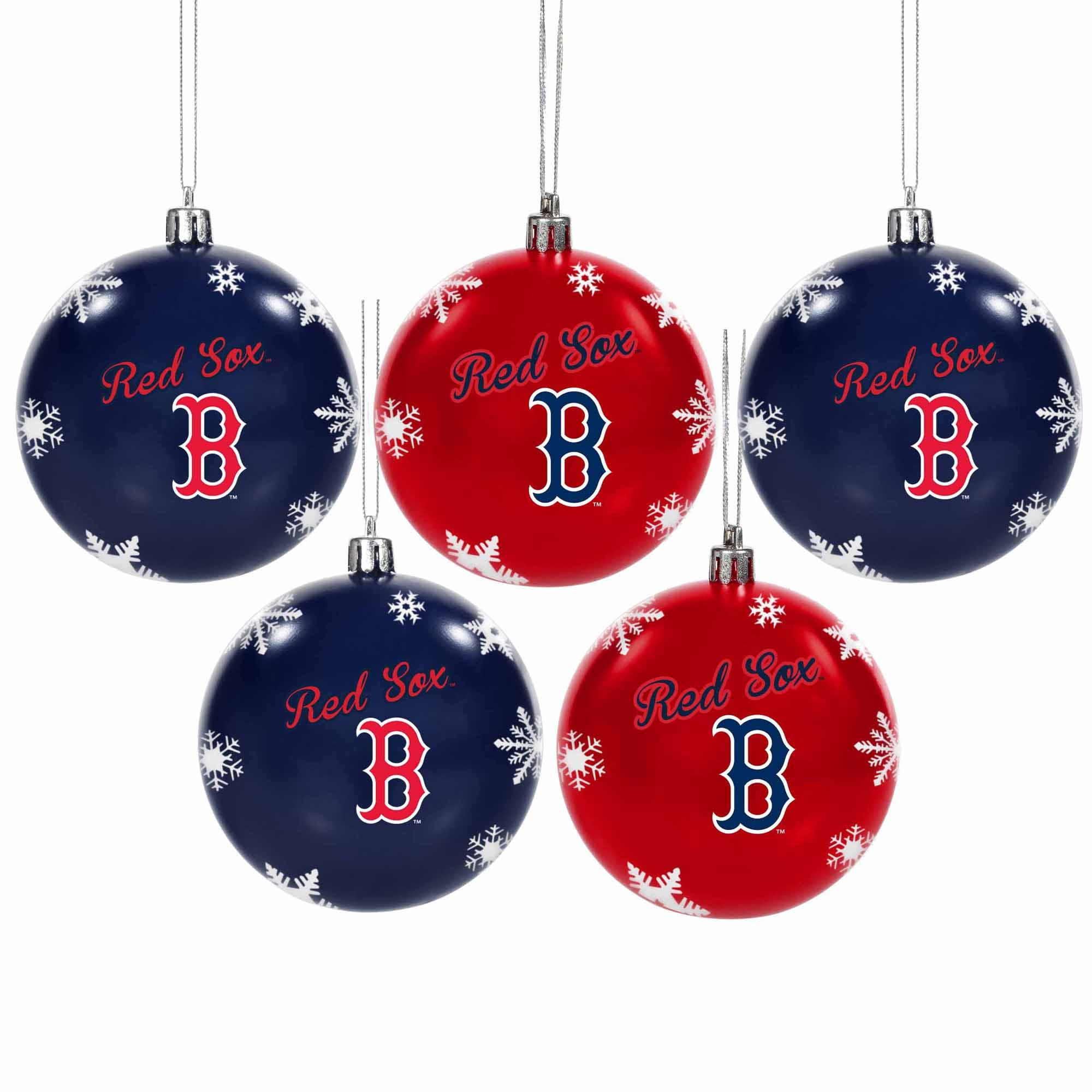 Boston Red Sox 5-Pack Set of Shatterproof Ball Ornaments