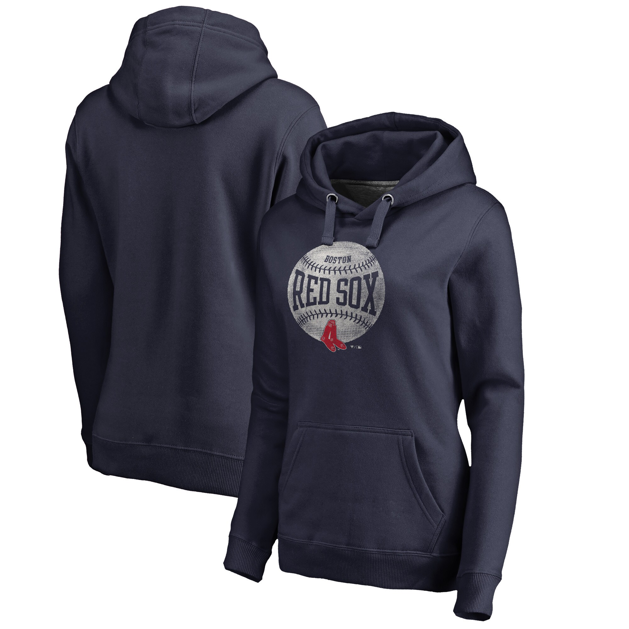 Boston Red Sox Fanatics Branded Women's Cooperstown Collection Slider Plus Size Pullover Hoodie - Navy