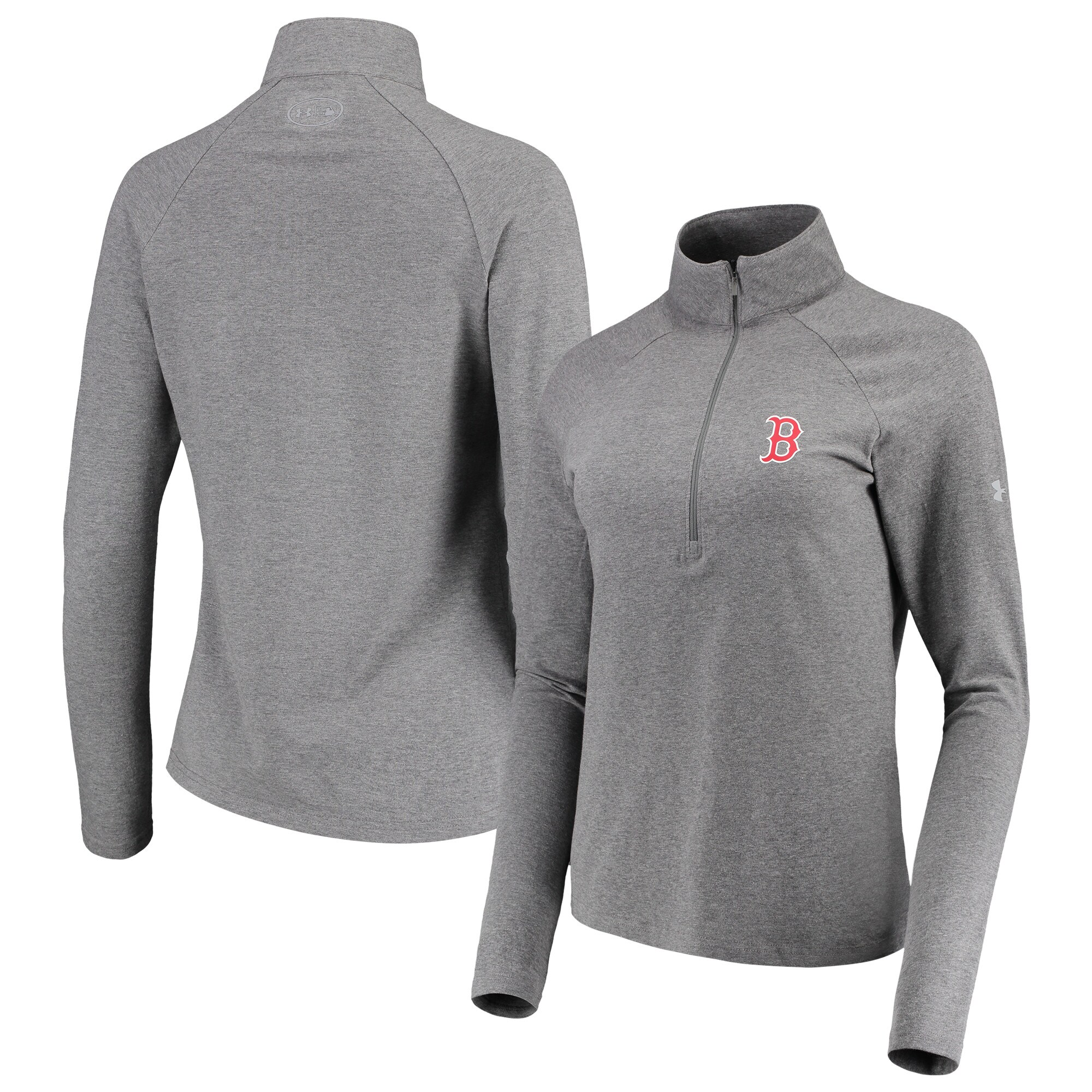 Boston Red Sox Under Armour Women's Passion Performance Tri-Blend Raglan Half-Zip Pullover Jacket - Heathered Gray