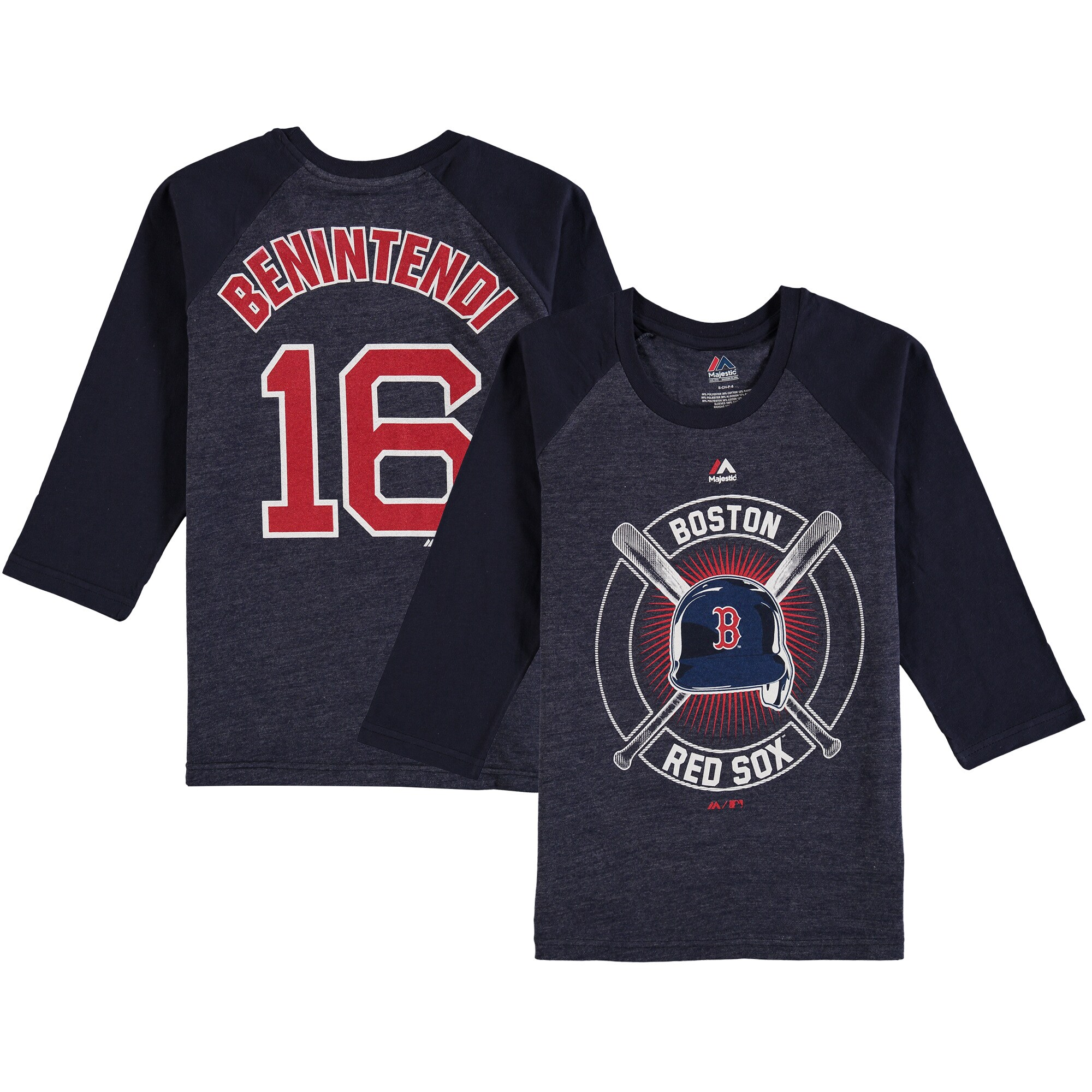 Andrew Benintendi Boston Red Sox Youth Name & Number Tri-Blend 3/4-Sleeve Raglan T-Shirt - Navy