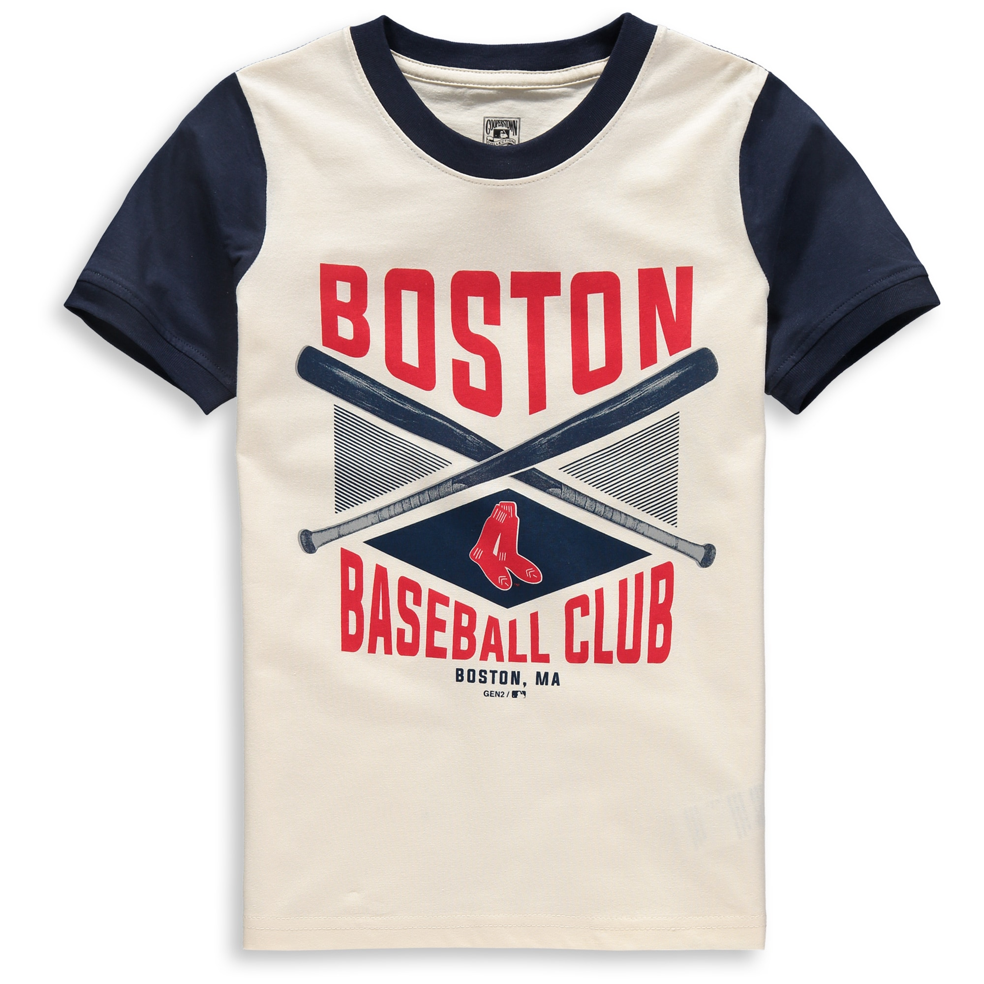 Boston Red Sox Youth Timeless Pastime Ringer T-Shirt - Cream/Navy