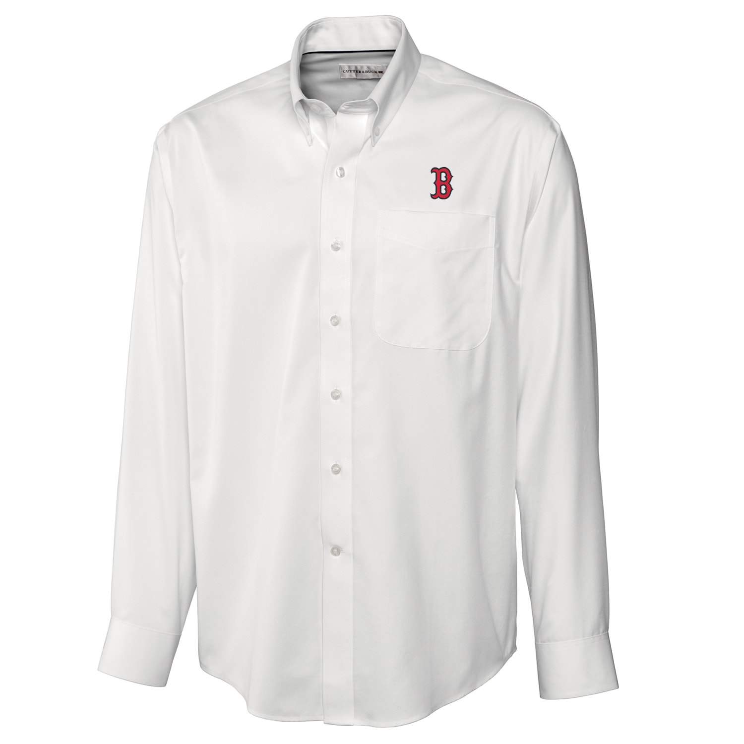 Boston Red Sox Cutter & Buck Big & Tall Epic Easy Care Fine Twill Long Sleeve Shirt - White