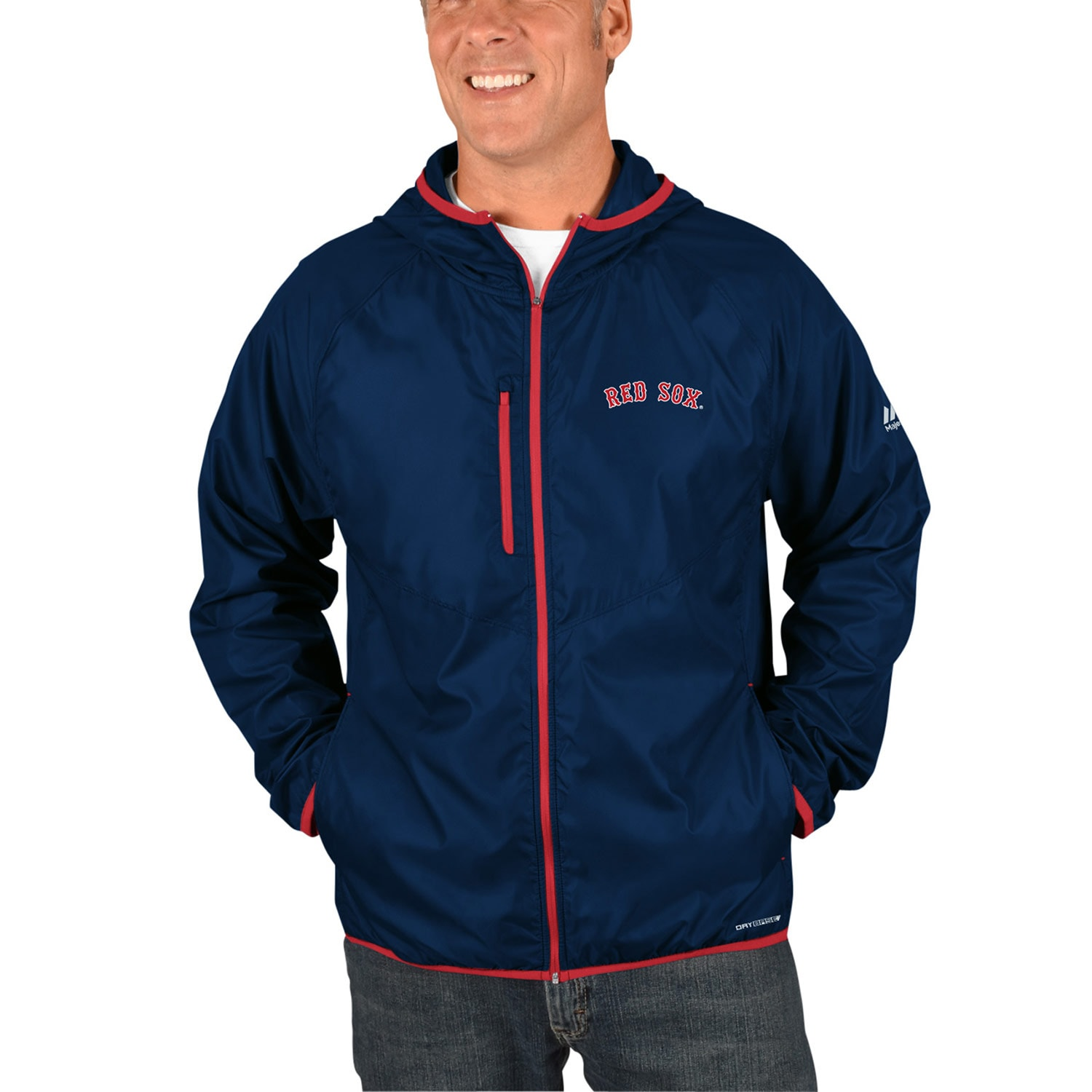 Boston Red Sox Majestic Strong Will Dry Base Full-Zip Hooded Jacket - Navy