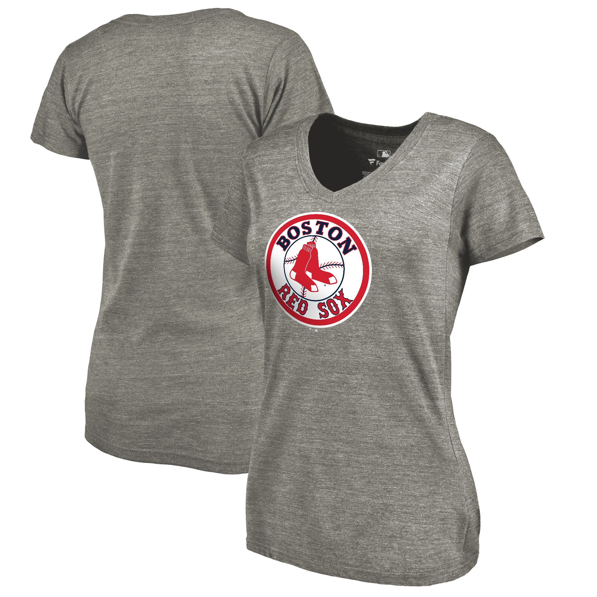 Boston Red Sox Fanatics Branded Women's Cooperstown Collection Forbes Tri-Blend V-Neck T-Shirt - Ash