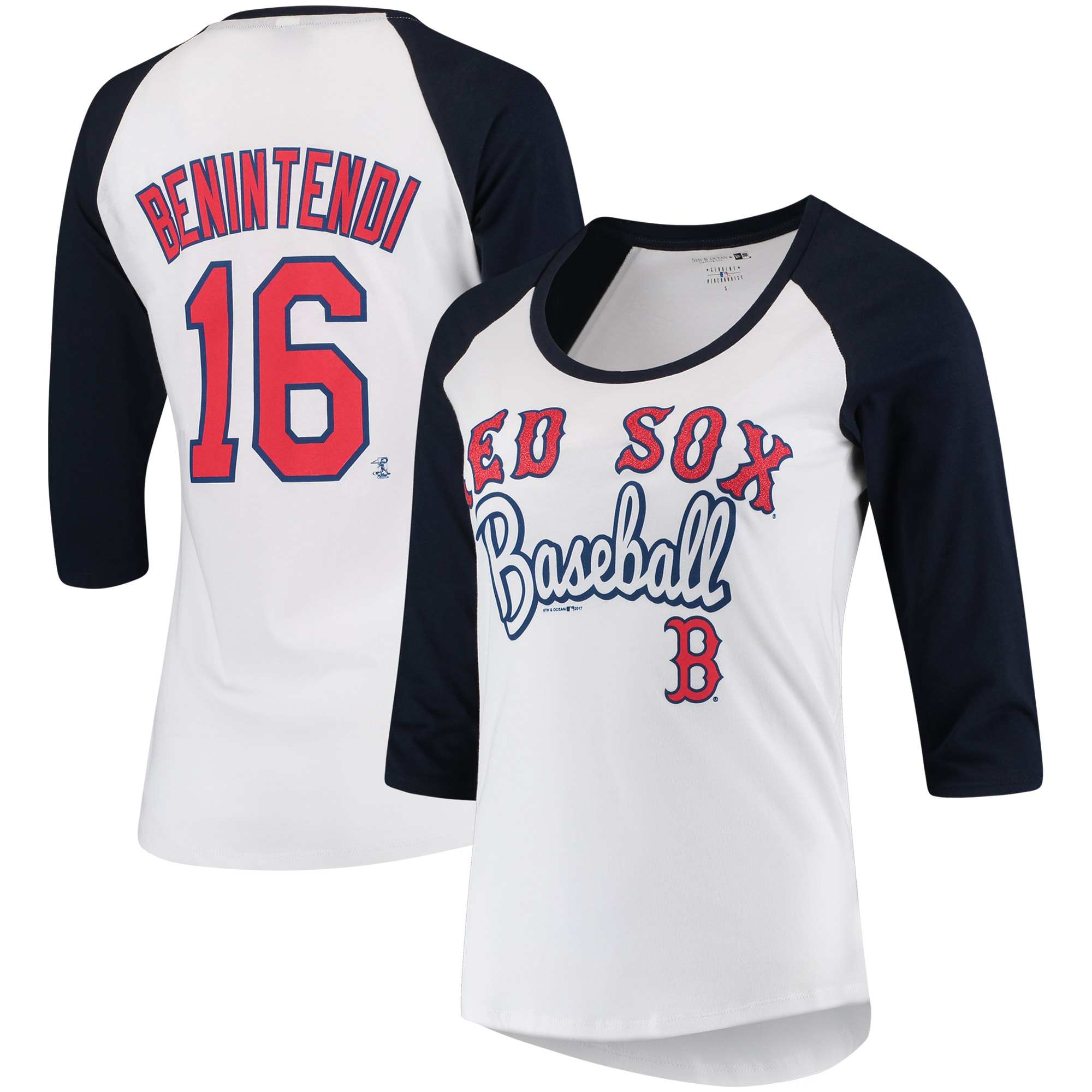 Andrew Benintendi Boston Red Sox 5th & Ocean by New Era Women's Glitter 3/4-Sleeve Raglan T-Shirt - White/Navy
