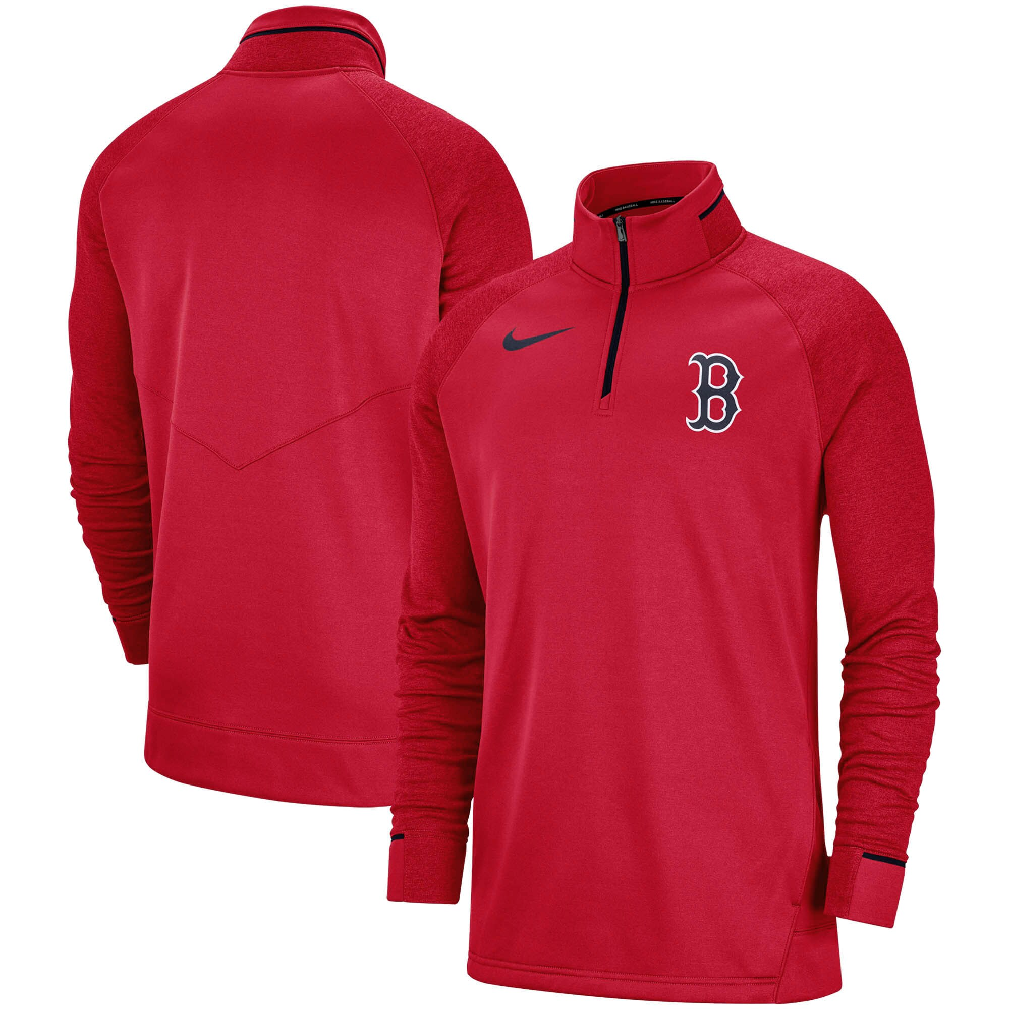 Boston Red Sox Nike Elite Game Performance Raglan Sleeve Quarter-Zip Pullover Jacket - Red