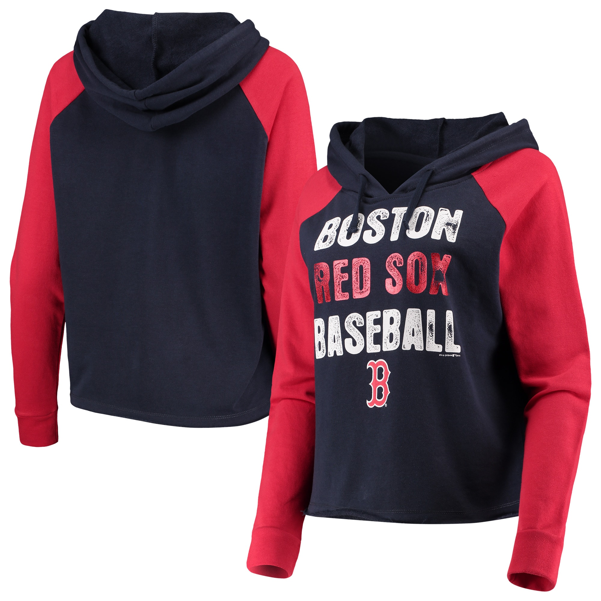 Boston Red Sox New Era Women's Loose French Terry Pullover Hoodie - Navy/Red