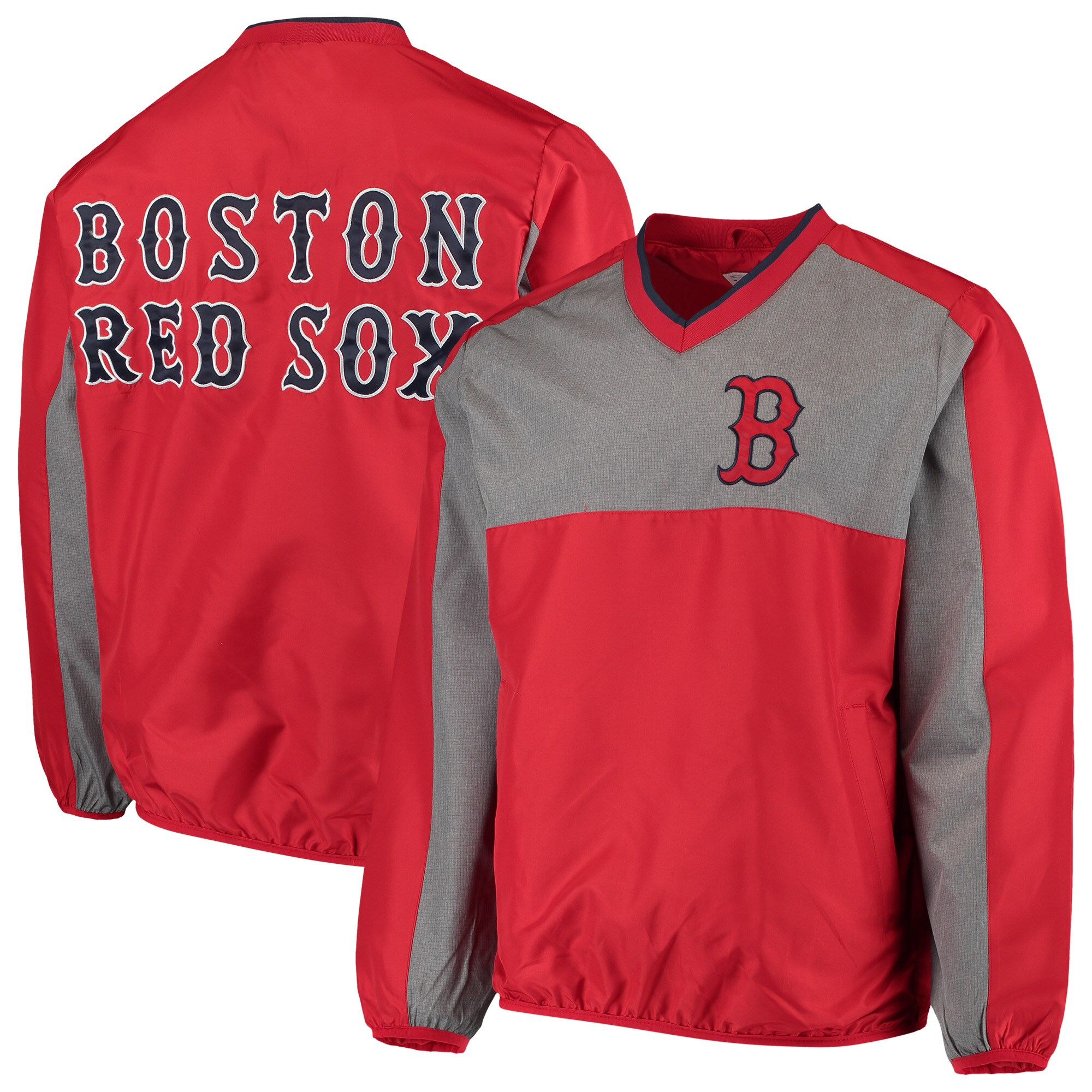Boston Red Sox G-III Sports by Carl Banks Clutch Hitter Pullover V-Neck Jacket - Red/Gray