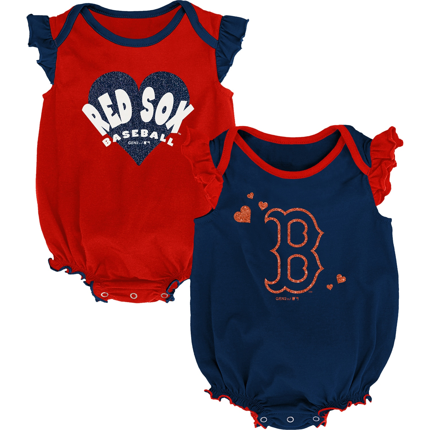 Boston Red Sox Girls Newborn & Infant Double Trouble Two-Pack Bodysuit Set - Navy/Red