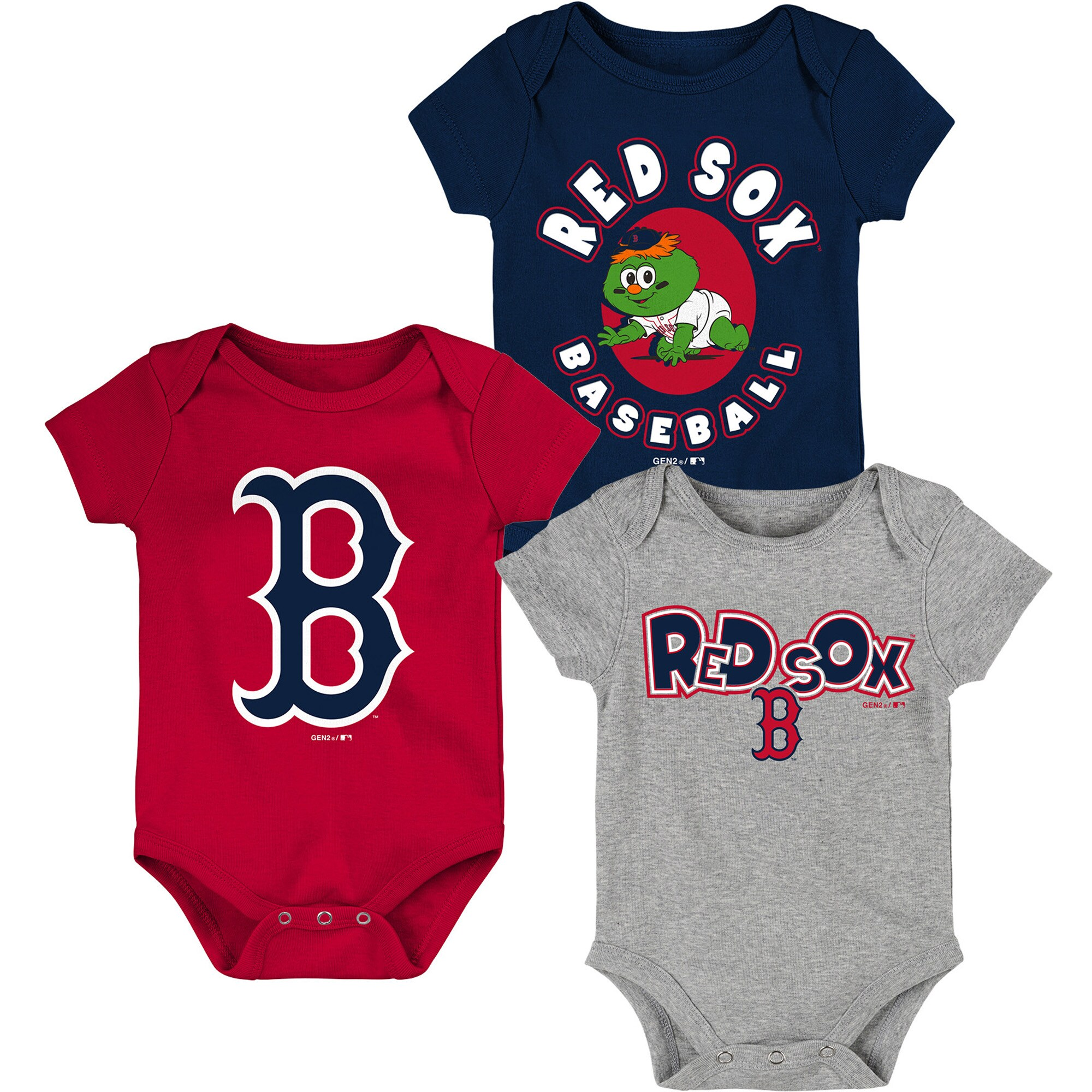 Boston Red Sox Infant Everyday Fan Three-Pack Bodysuit Set - Navy/Red/Heathered Gray