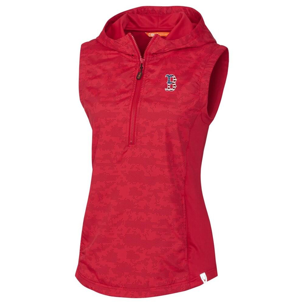 Boston Red Sox Cutter & Buck Women's Swish Printed Half-Zip Sport Vest - Red
