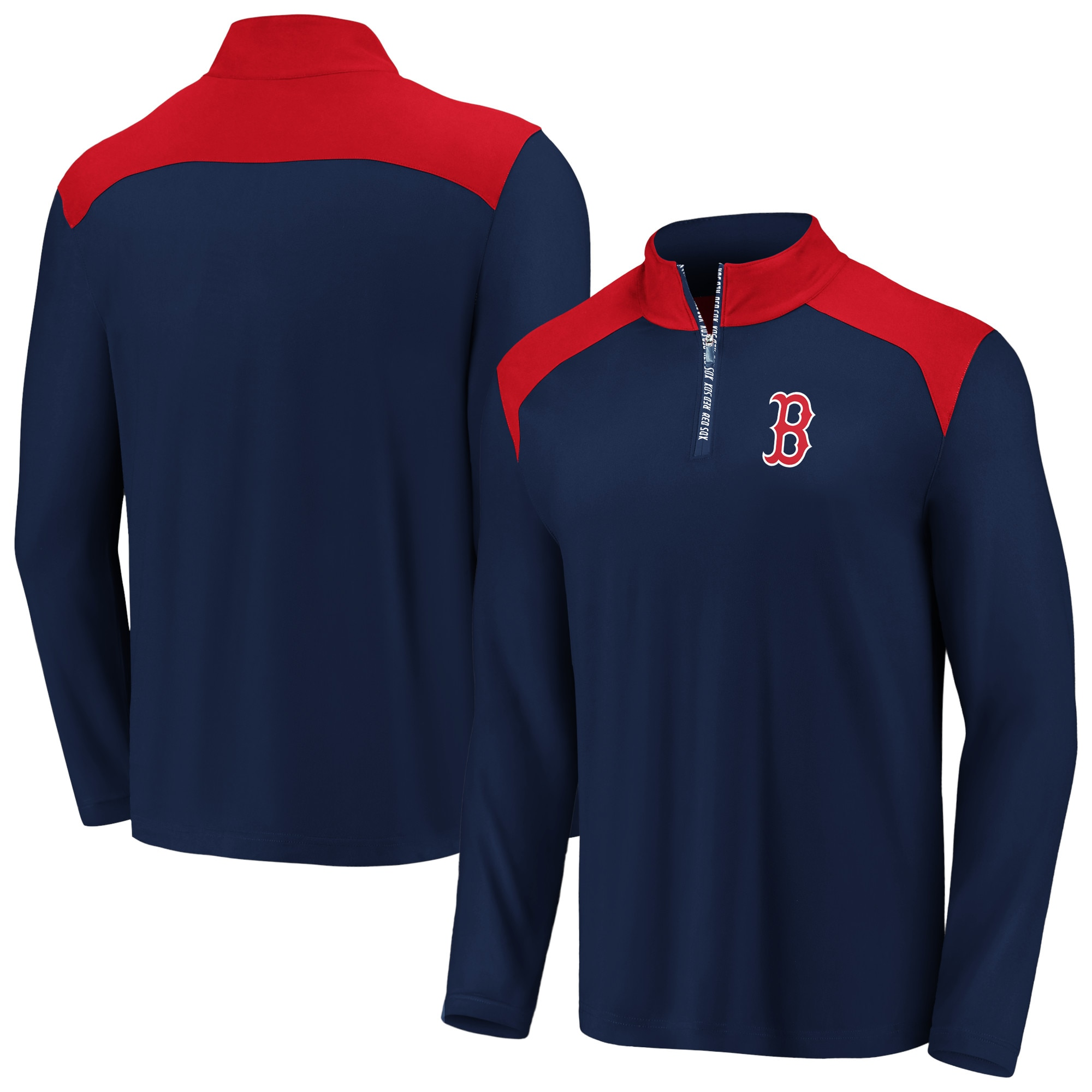Boston Red Sox Fanatics Branded Iconic Clutch Quarter-Zip Pullover Jacket - Navy/Red