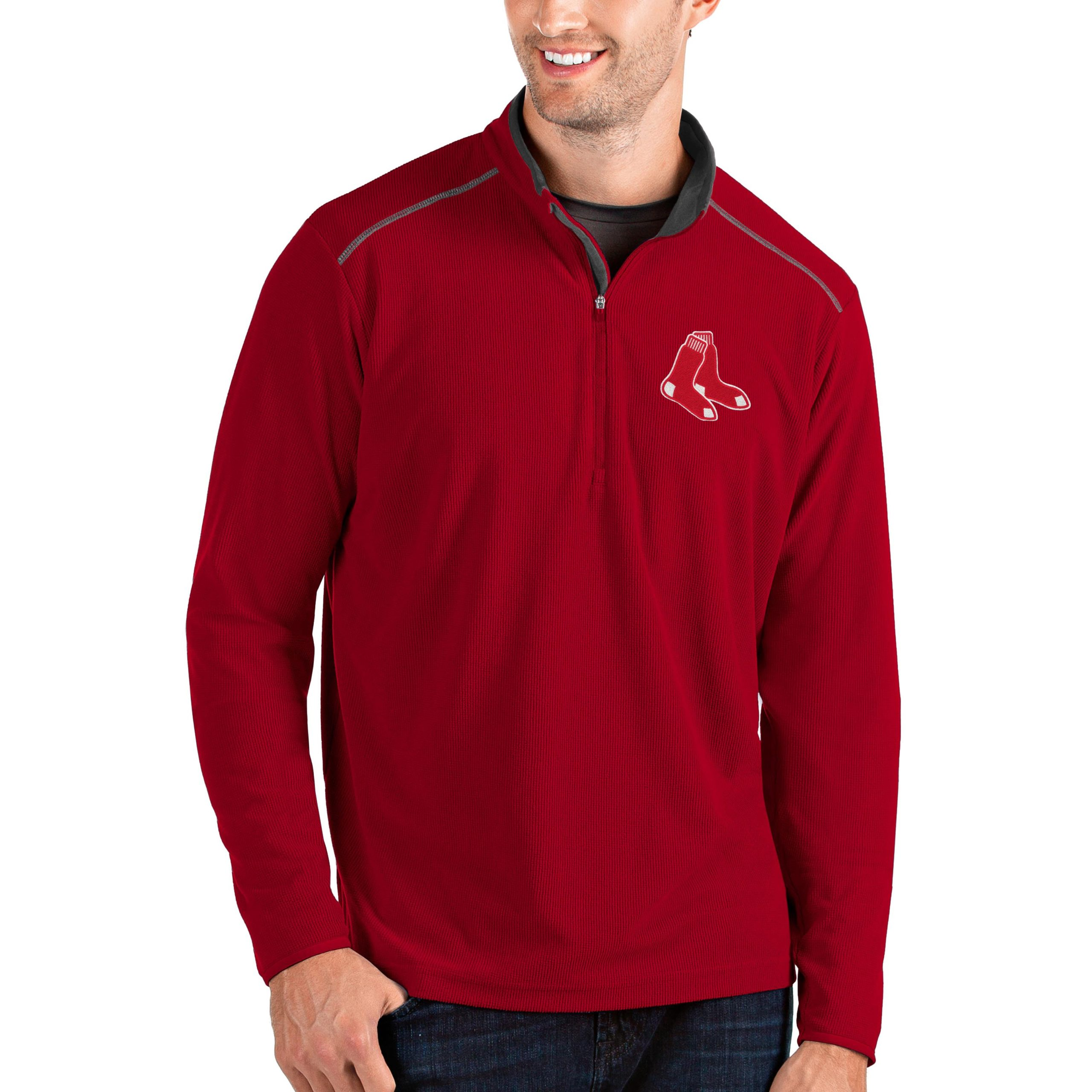 Boston Red Sox Antigua Glacier Quarter-Zip Pullover Jacket - Red