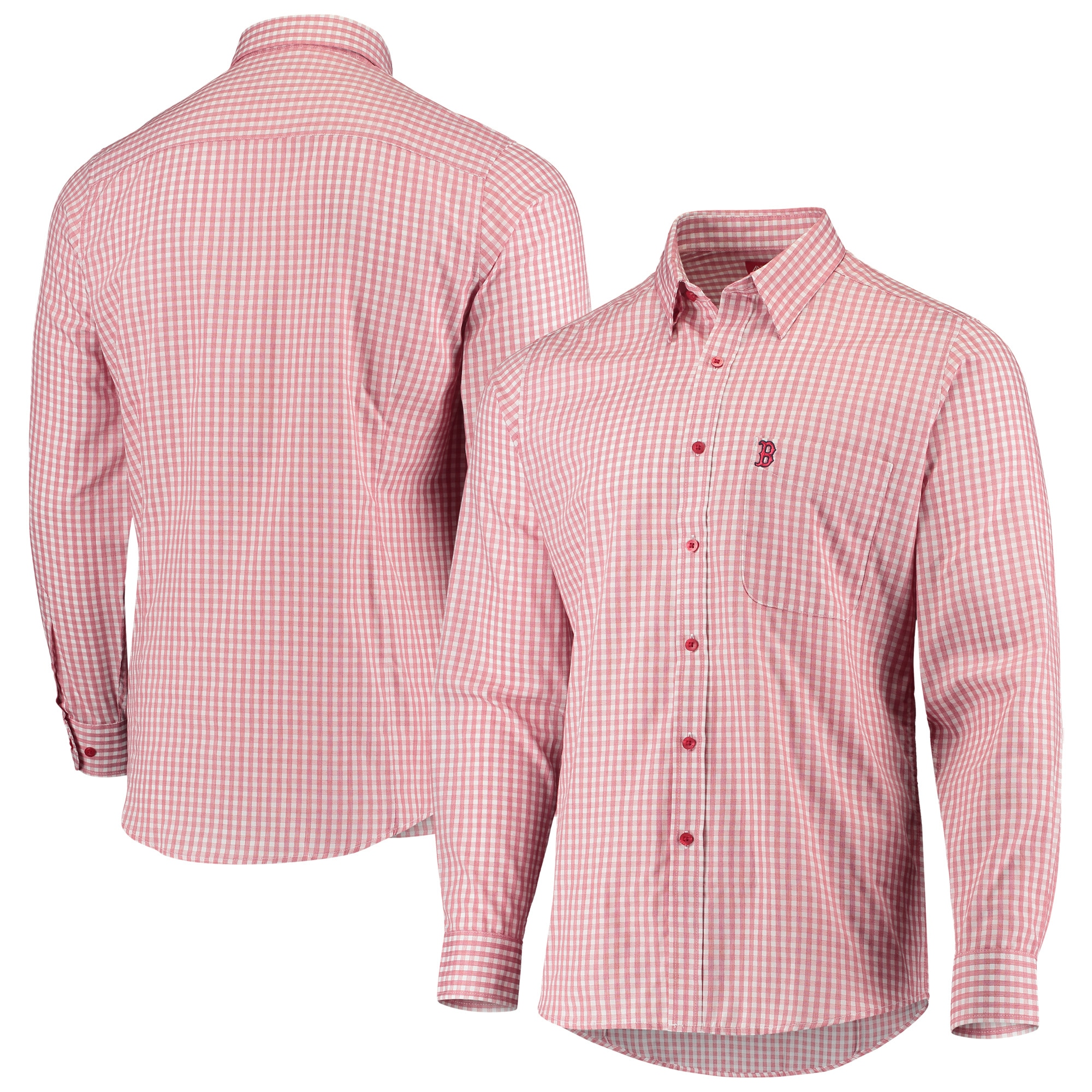 Boston Red Sox Antigua Structure Button-Up Long Sleeve Shirt - Red/White