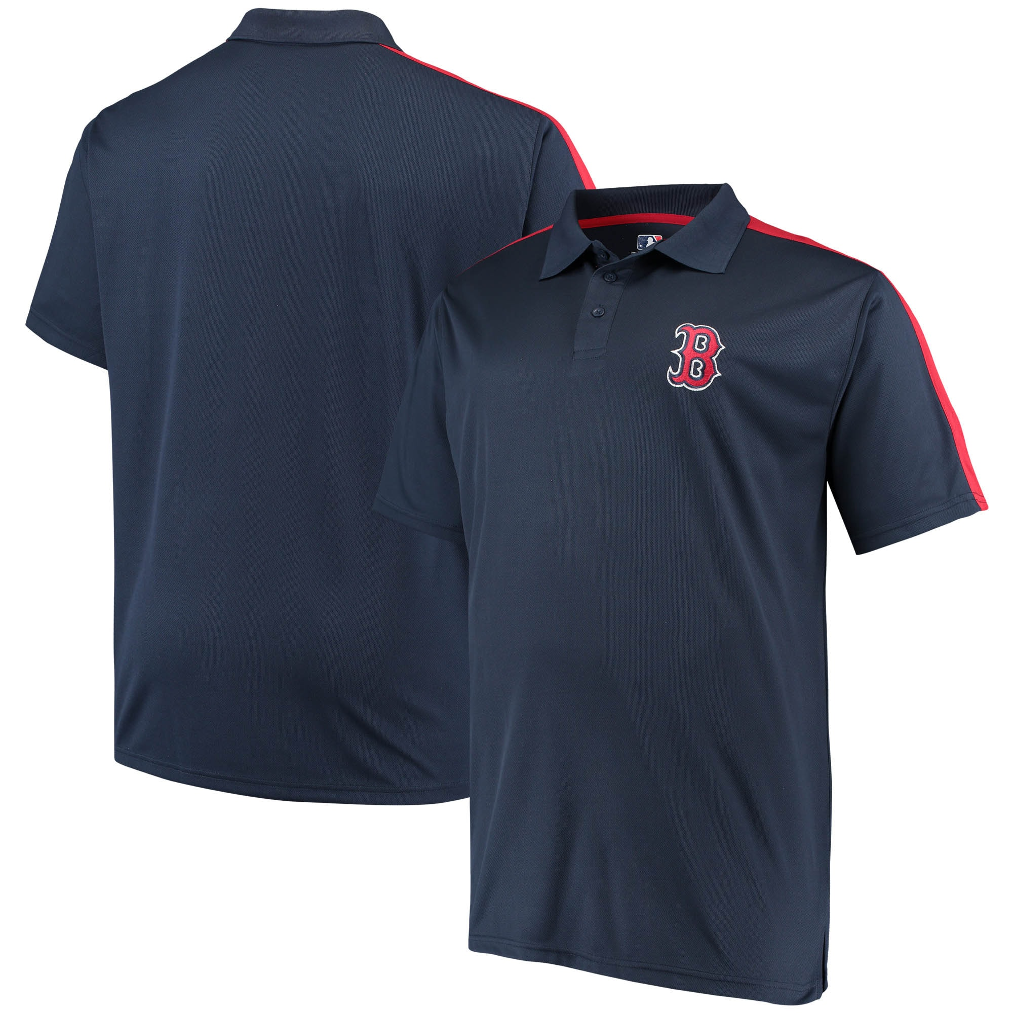 Boston Red Sox Big & Tall 2-Tone Birdseye Polo - Navy/Red