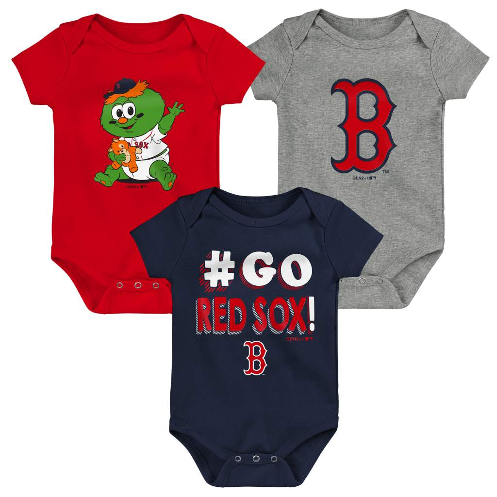 Boston Red Sox Infant Born To Win 3-Pack Bodysuit Set - Navy/Red/Gray