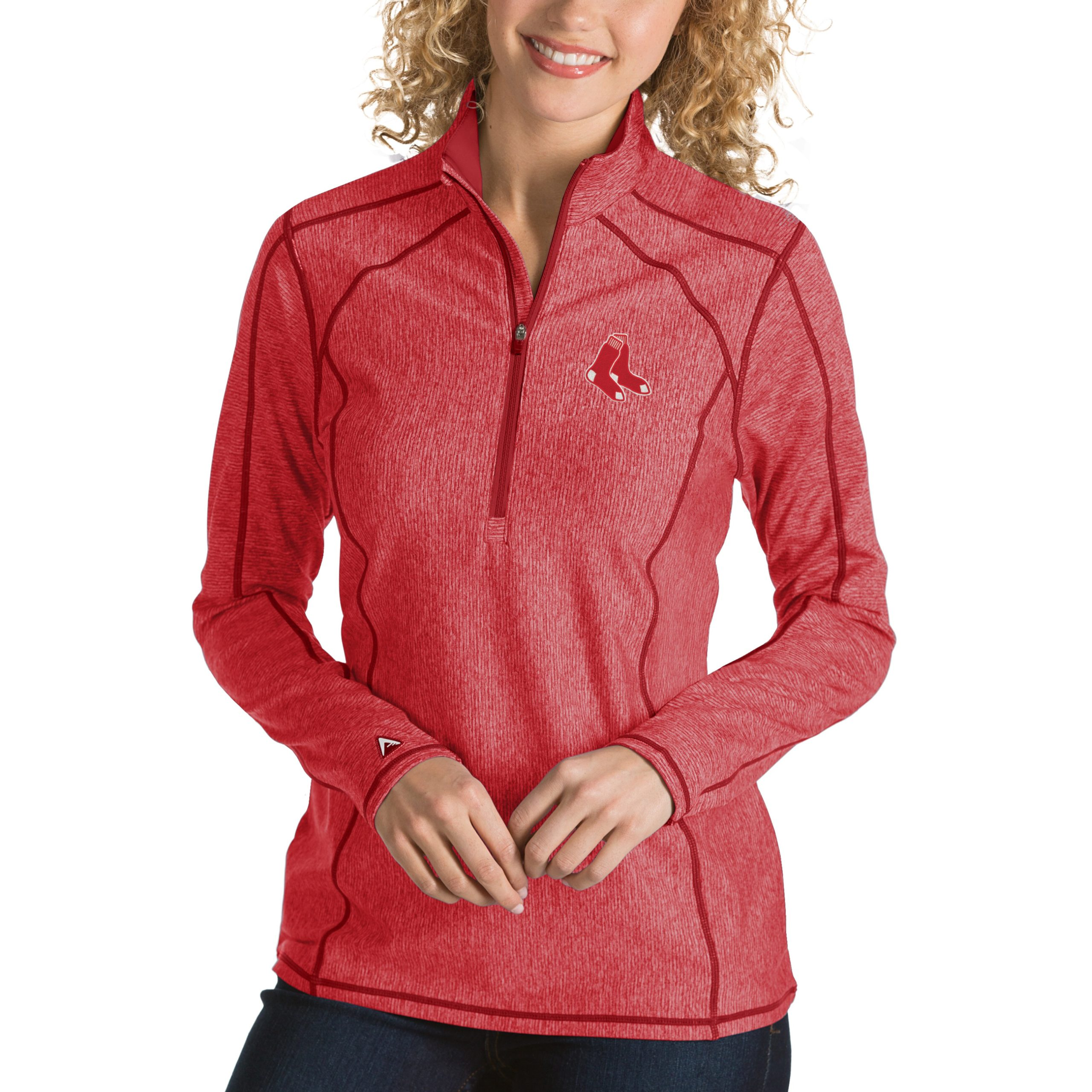 Boston Red Sox Antigua Women's Tempo Desert Dry 1/4-Zip Pullover Jacket - Heathered Red