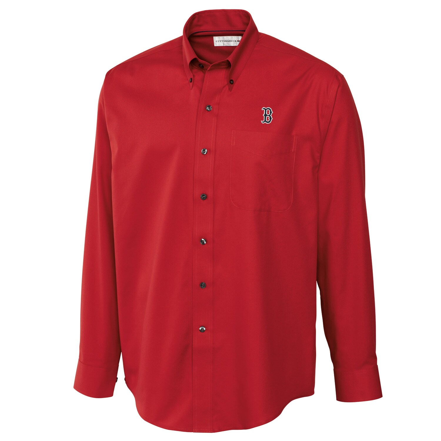 Boston Red Sox Cutter & Buck Big & Tall Epic Easy Care Fine Twill Long Sleeve Shirt - Red