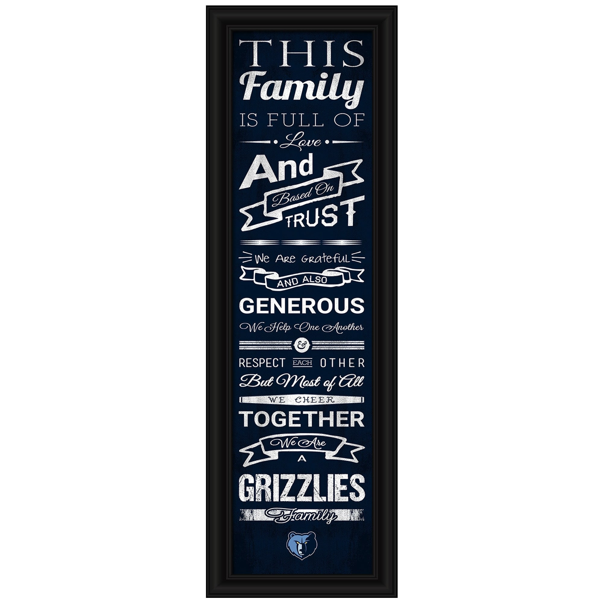 Memphis Grizzlies Crackle Family Cheer Framed Art
