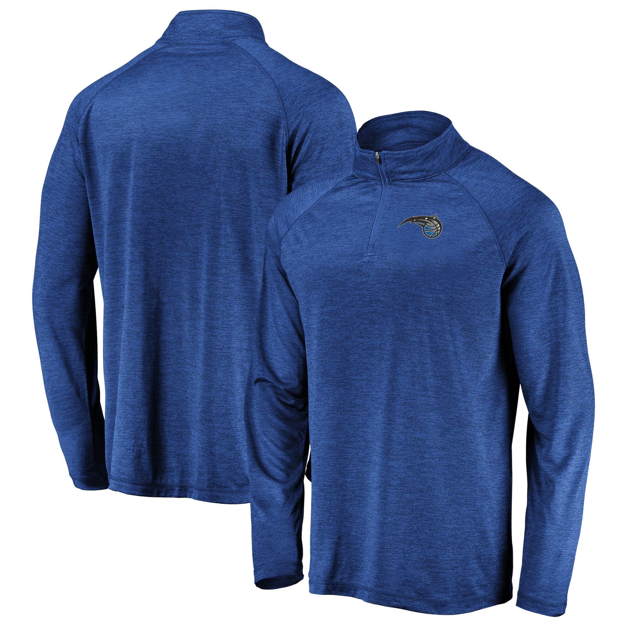 Orlando Magic Fanatics Branded Iconic Striated Raglan Quarter-Zip Pullover Jacket - Blue