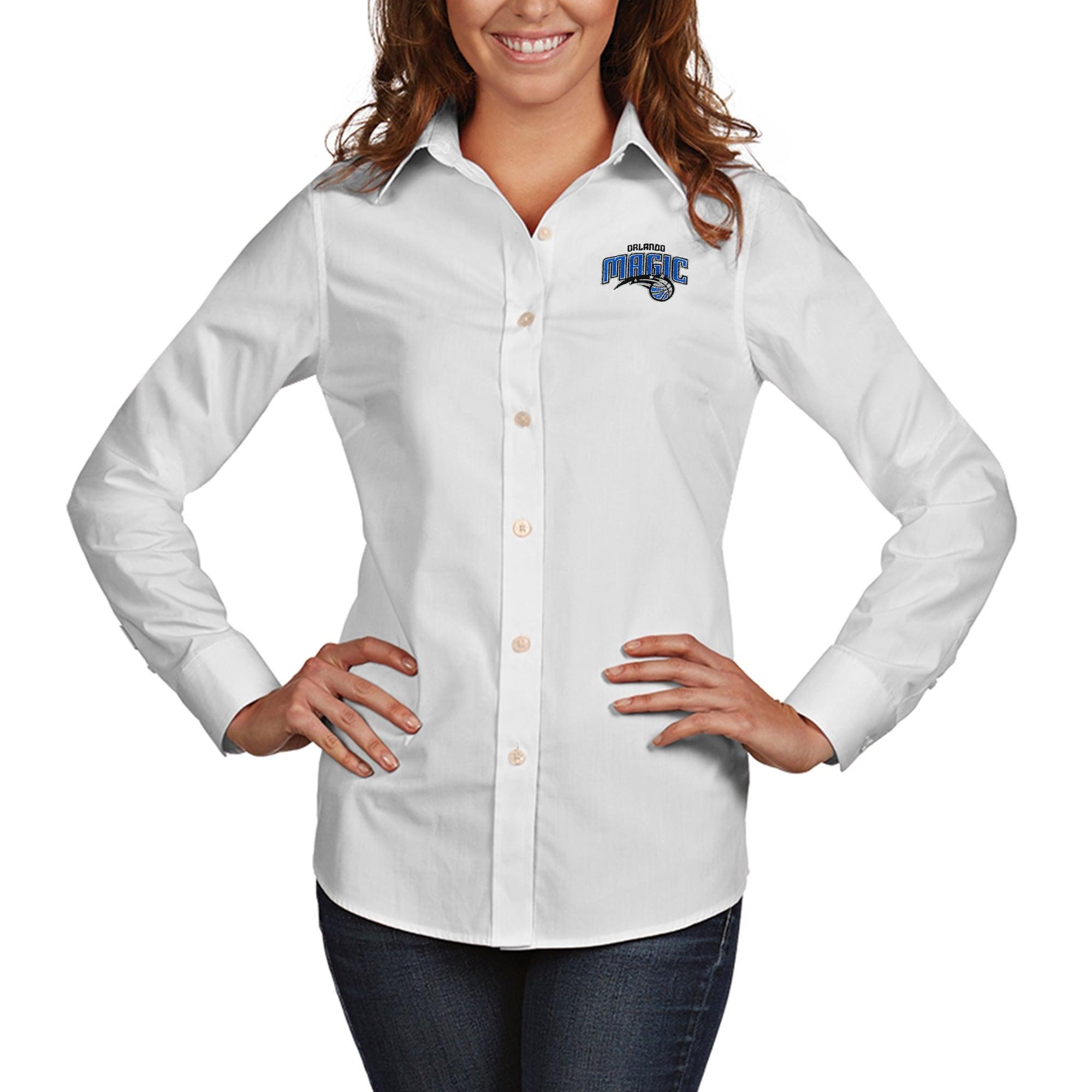 Orlando Magic Antigua Women's Dynasty Woven Button-Up Long Sleeve Shirt - White