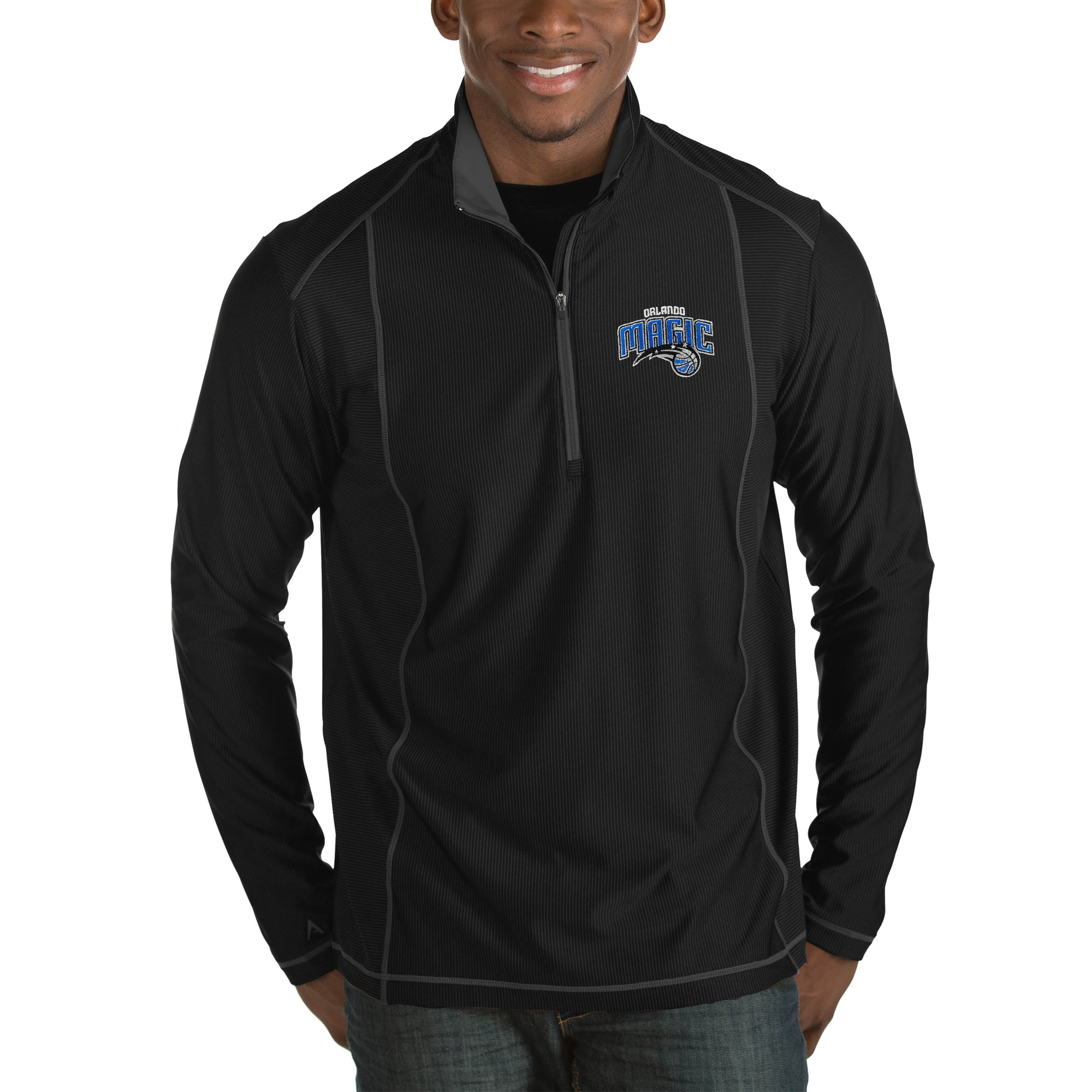 Orlando Magic Antigua Tempo Big & Tall Half-Zip Pullover Jacket - Black