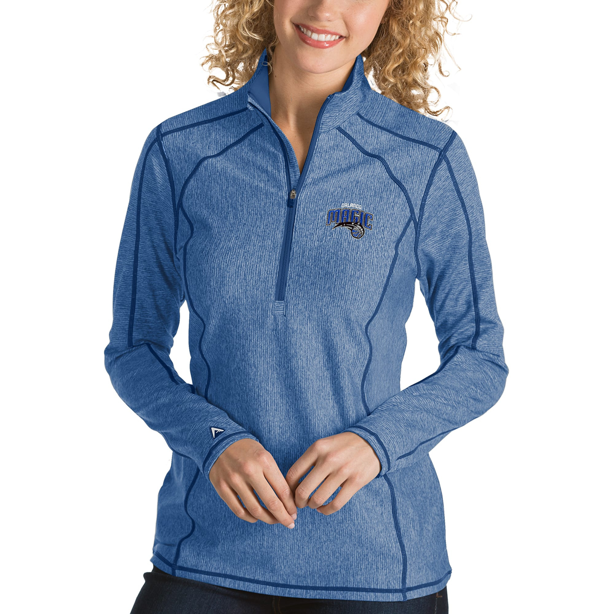 Orlando Magic Antigua Women's Tempo Half-Zip Pullover Jacket - Heather Royal