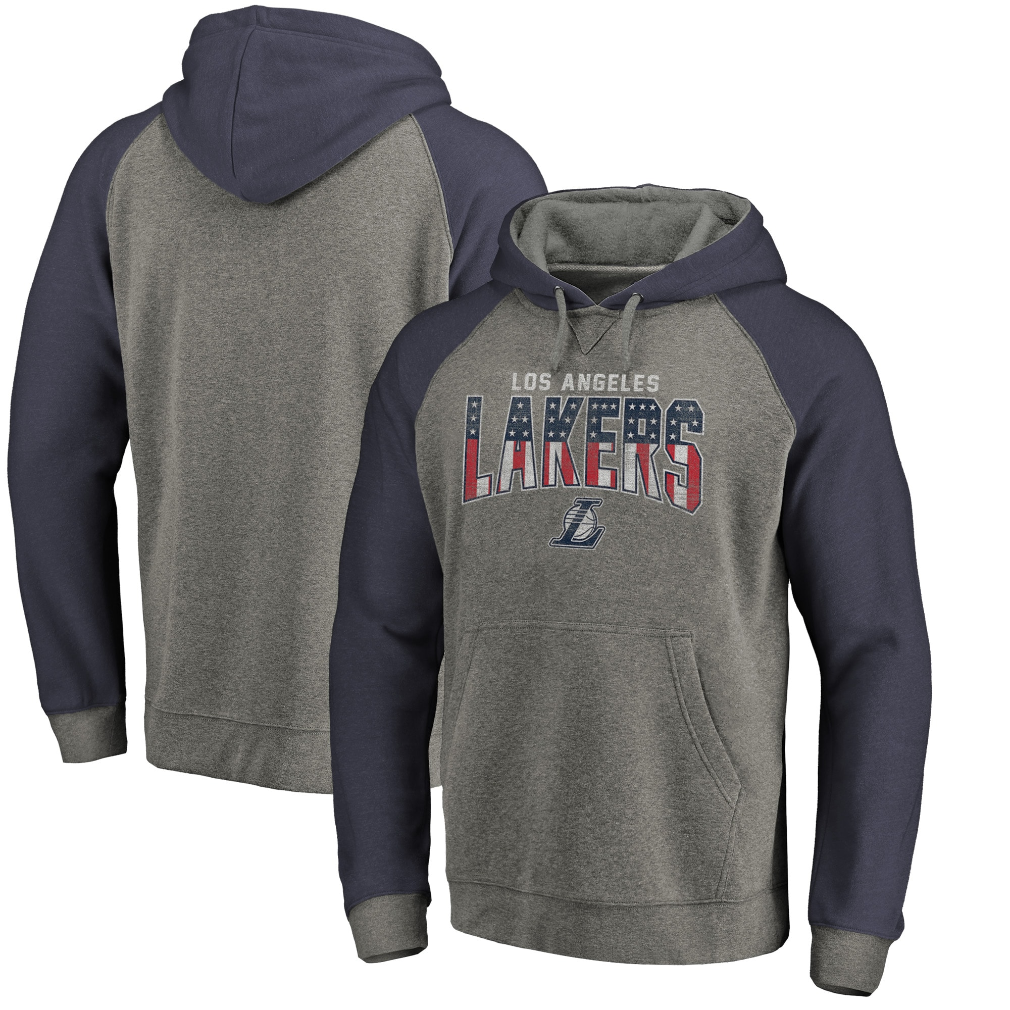 Los Angeles Lakers Fanatics Branded Freedom Tri-Blend Pullover Hoodie - Heathered Gray