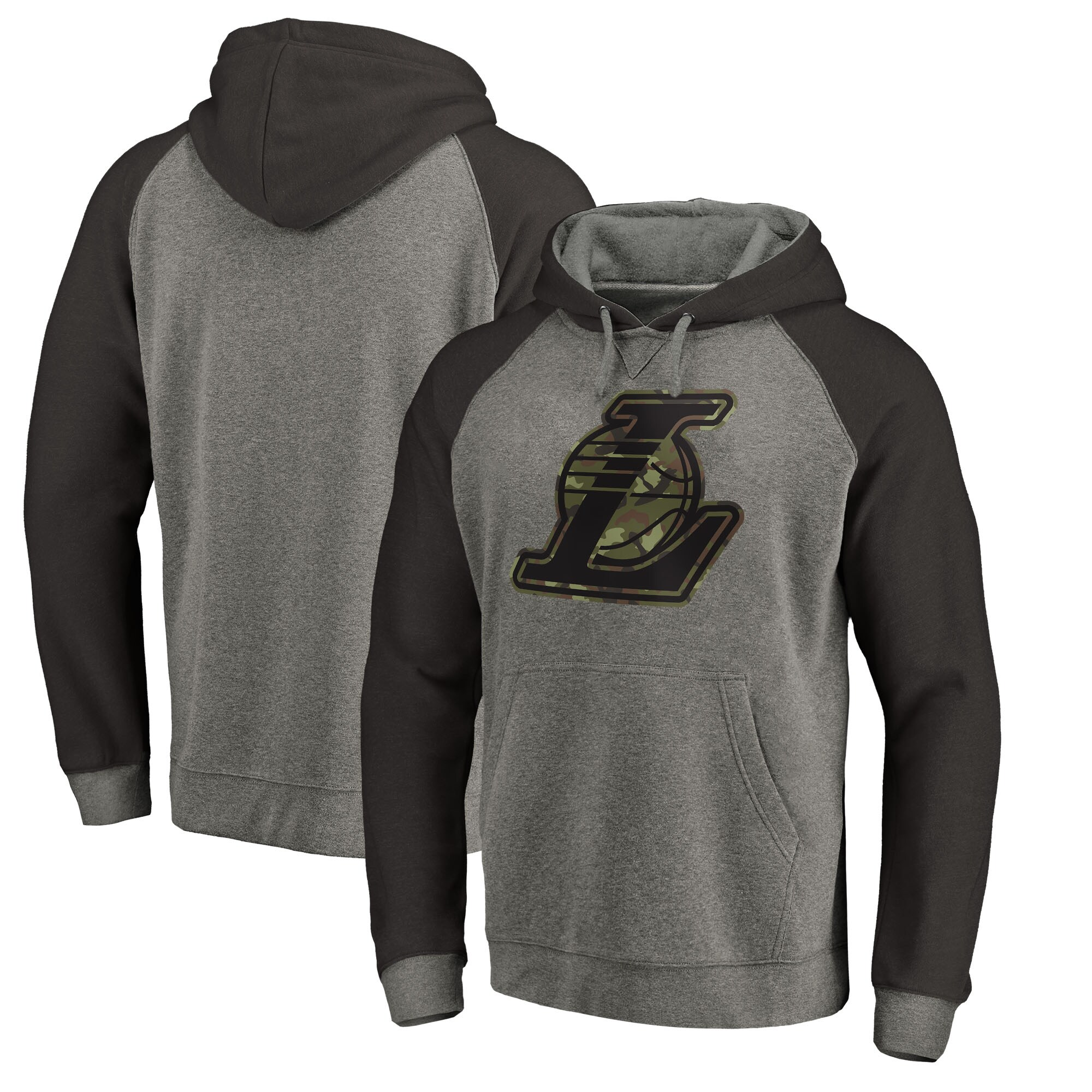Los Angeles Lakers Fanatics Branded Prestige Camo Tri-Blend Pullover Hoodie - Heathered Gray