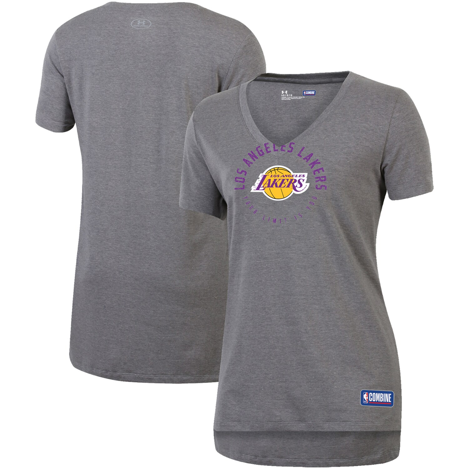 Los Angeles Lakers Under Armour Women's Combine Authentic Your Limit Is You V-Neck T-Shirt - Heathered Gray