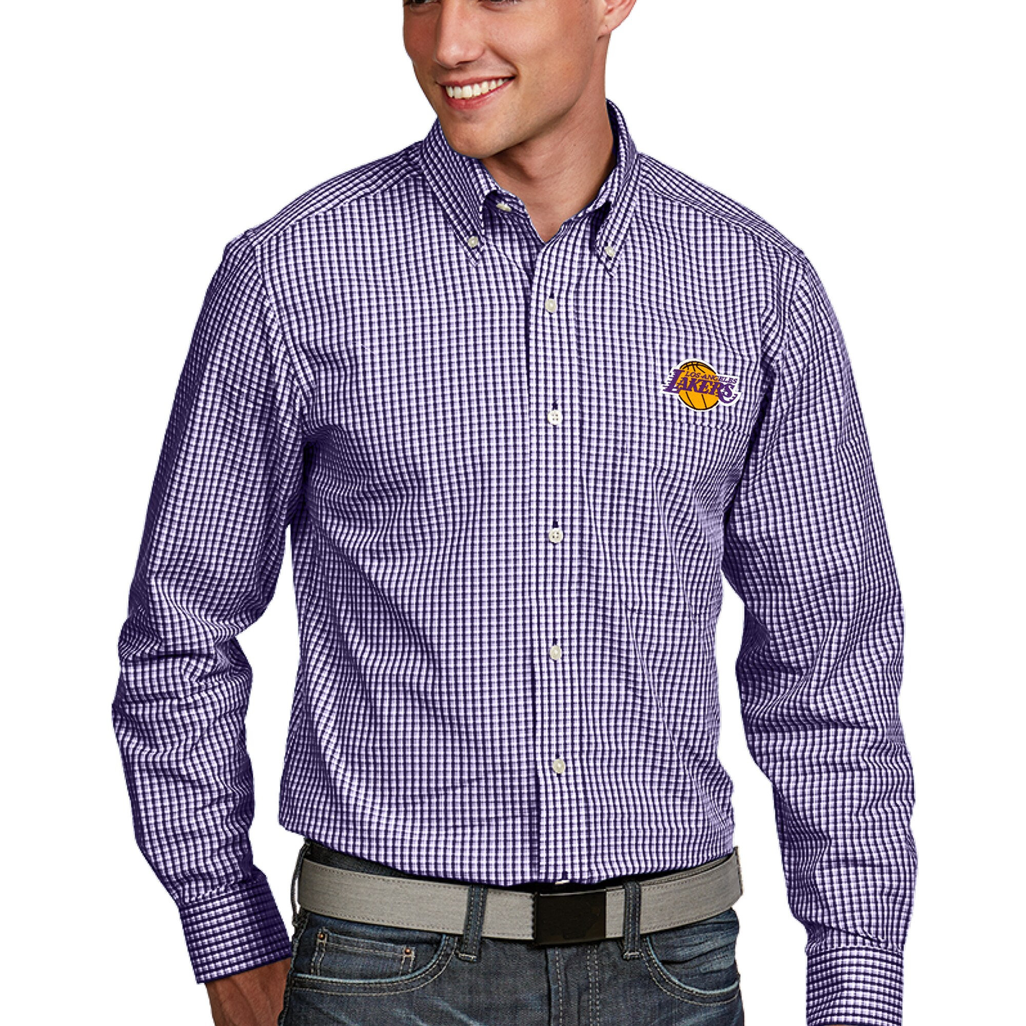 Los Angeles Lakers Antigua Associate Button-Down Long Sleeve Shirt - Purple