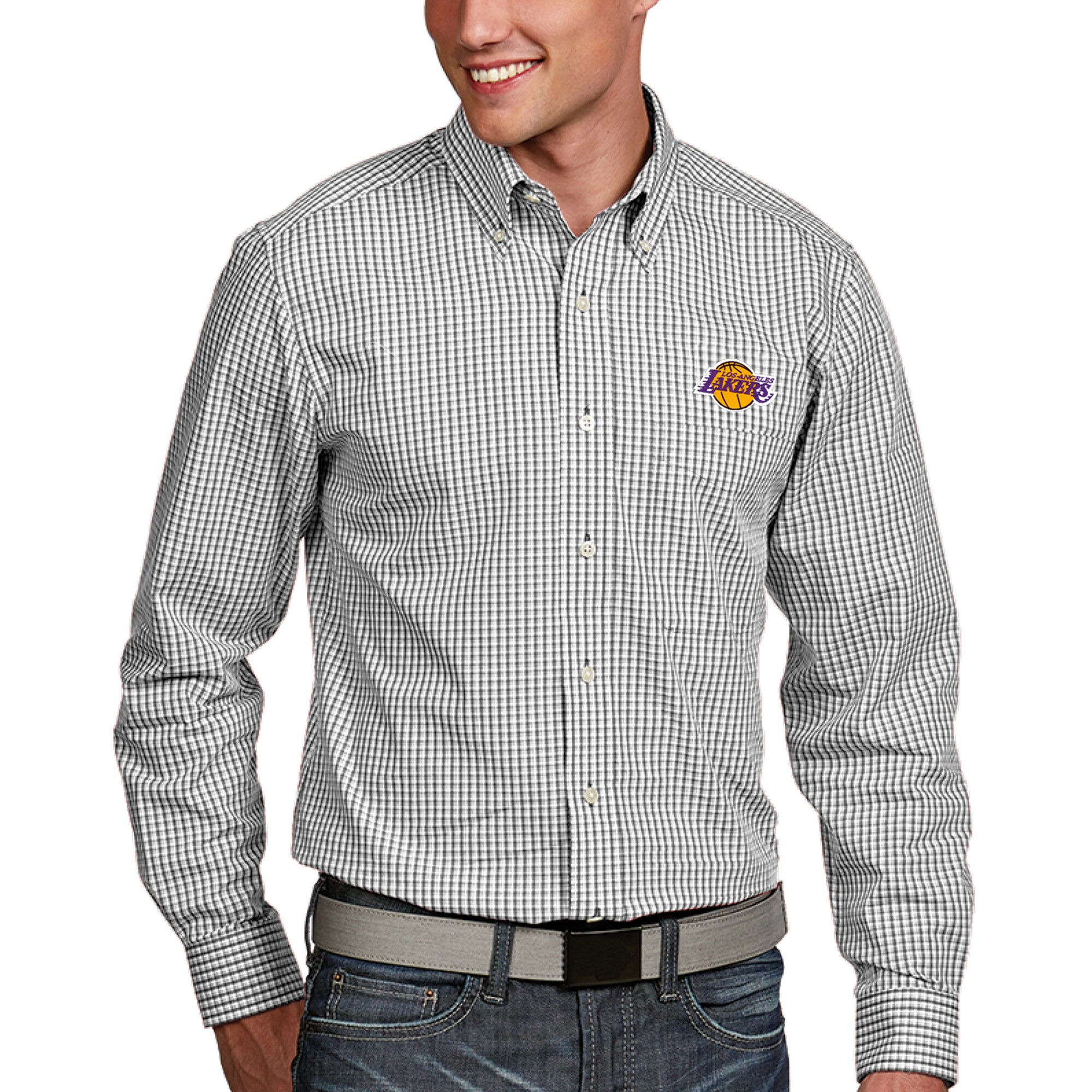 Los Angeles Lakers Antigua Associate Button-Down Long Sleeve Shirt - White