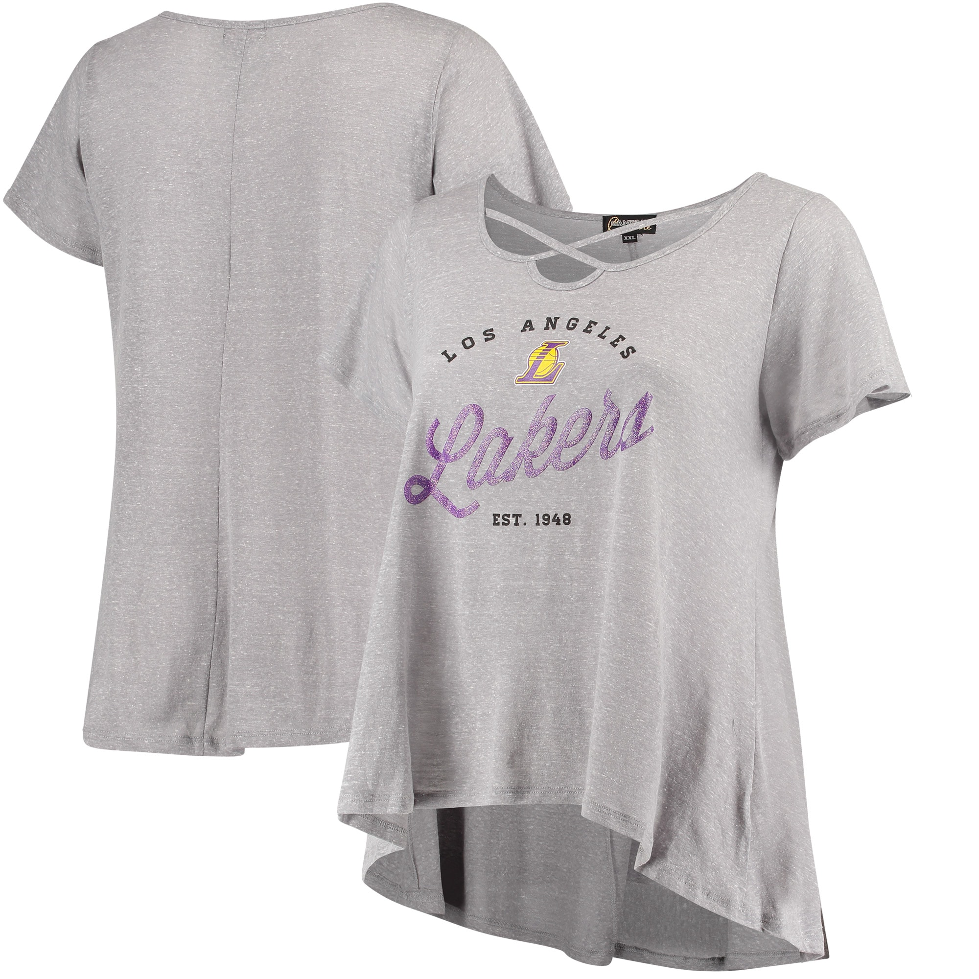 Los Angeles Lakers Women's Criss Cross Front Tri-Blend T-Shirt - Gray