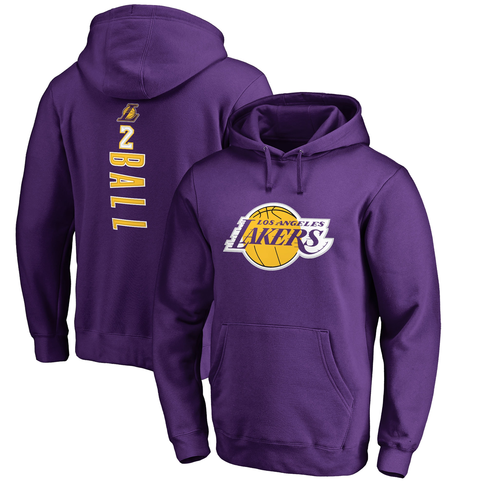Lonzo Ball Los Angeles Lakers Fanatics Branded Backer Name & Number Pullover Hoodie - Purple