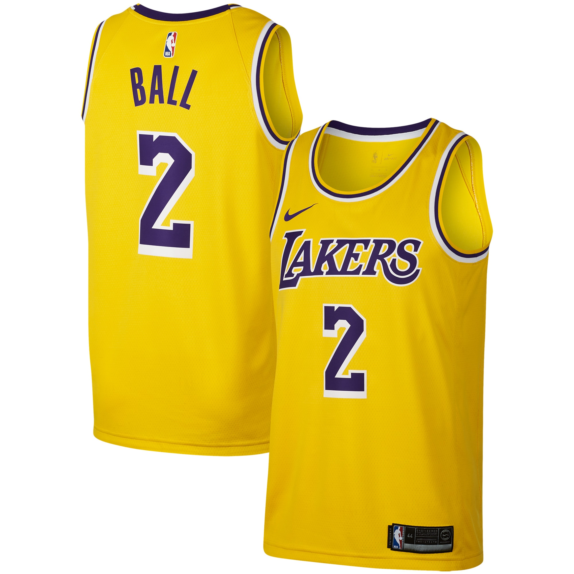 Lonzo Ball Los Angeles Lakers Nike Replica Swingman Jersey - Icon Edition - Gold