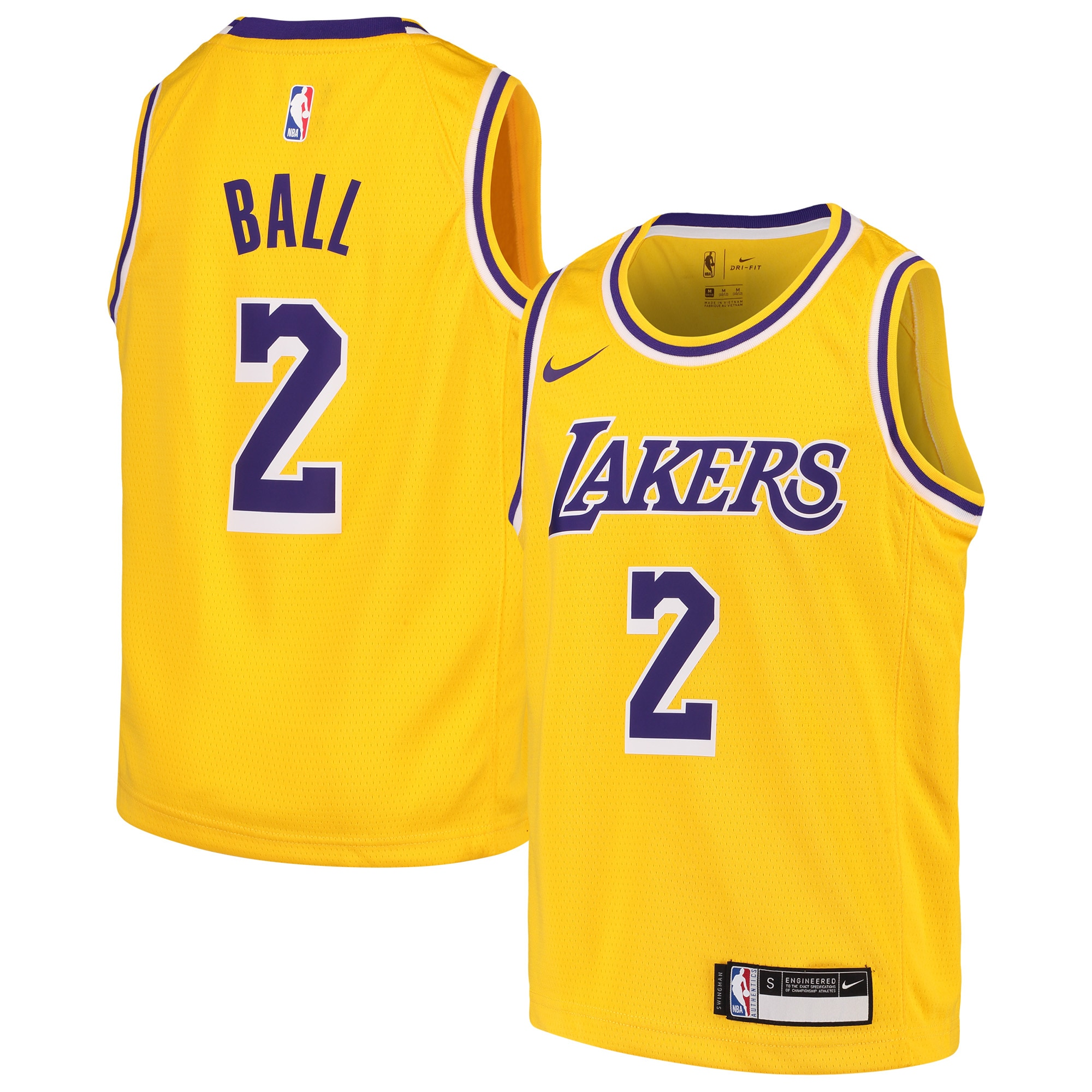 Lonzo Ball Los Angeles Lakers Nike Youth Swingman Jersey Gold - Icon Edition