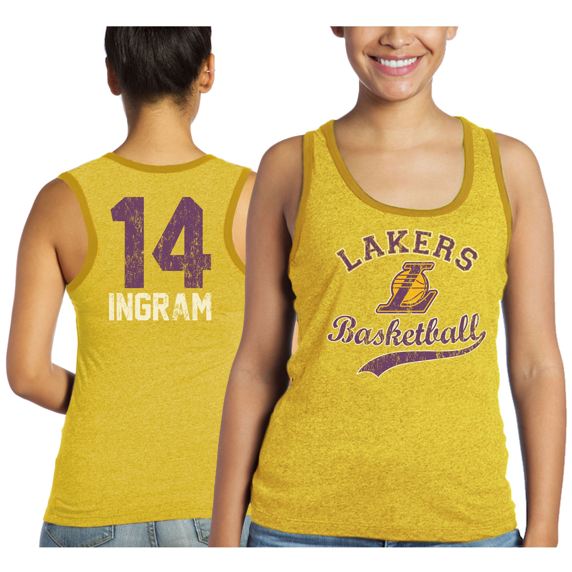 Brandon Ingram Los Angeles Lakers Majestic Threads Women's Name & Number Tri-Blend Tank Top - Gold