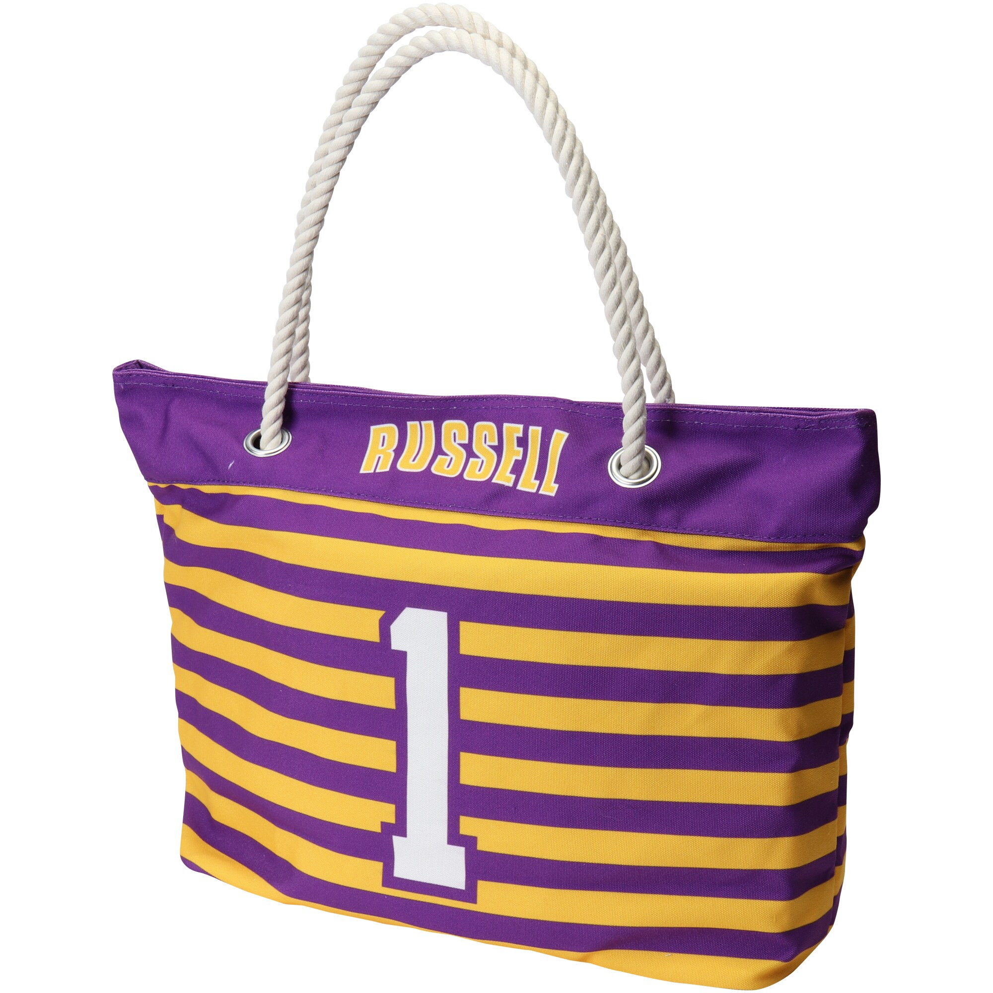 D'Angelo Russell Los Angeles Lakers Women's Player Nautical Stripe Tote Bag - Purple