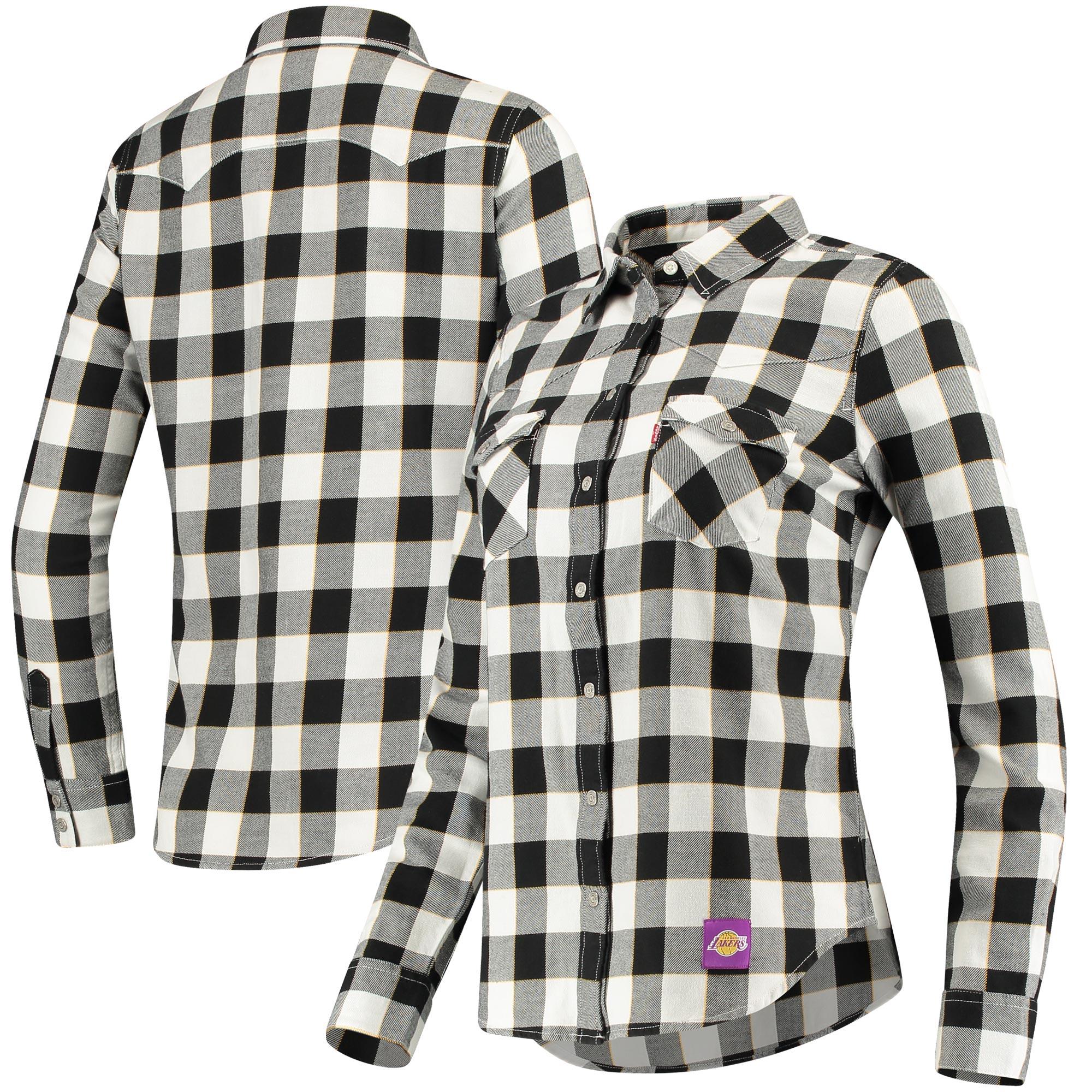 Los Angeles Lakers Levi's Women's Buffalo Western Long Sleeve Button-Up Shirt - Black/White