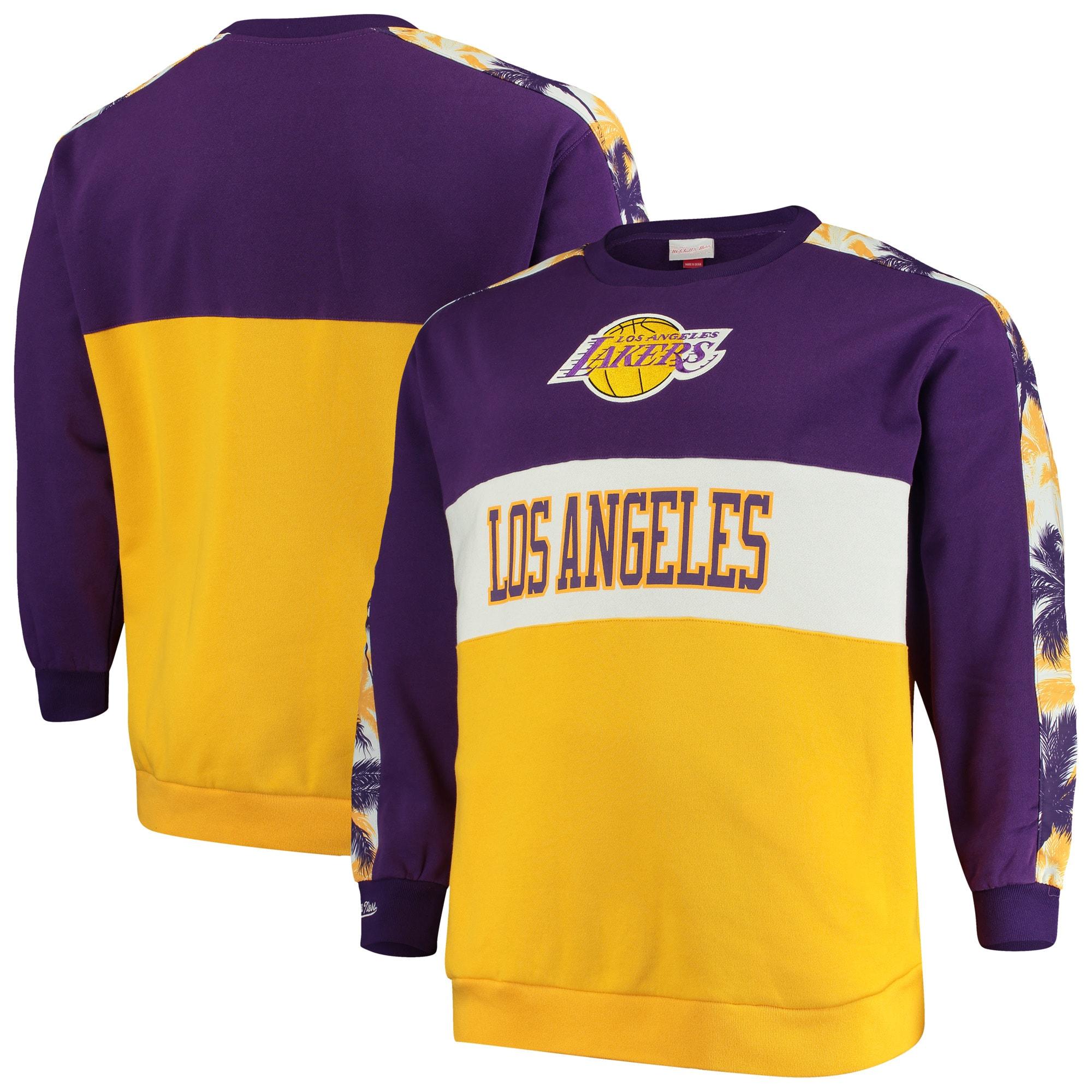 Los Angeles Lakers Mitchell & Ness Hardwood Classics Big & Tall Leading Scorer Fleece Pullover Sweatshirt - Purple/Gold