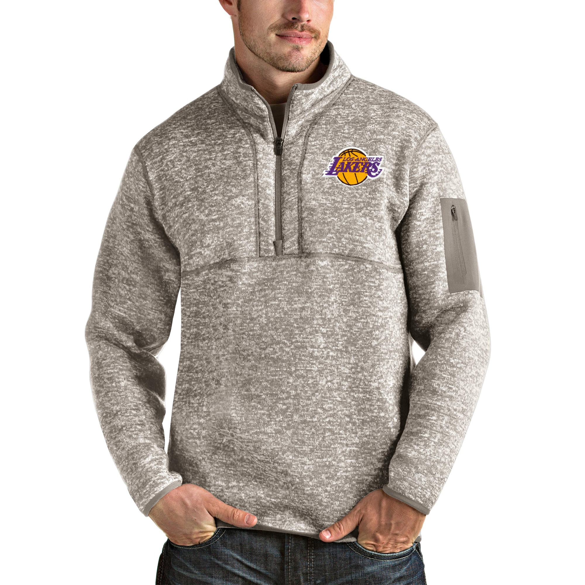 Los Angeles Lakers Antigua Fortune Quarter-Zip Pullover Jacket - Natural