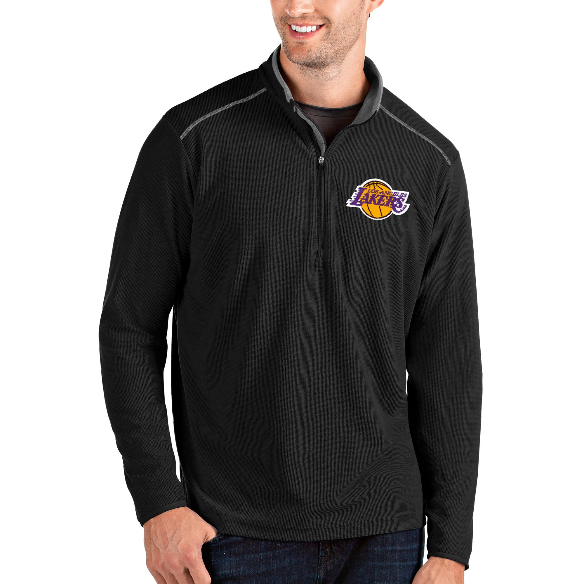 Los Angeles Lakers Antigua Glacier Quarter-Zip Pullover Jacket - Black/Gray