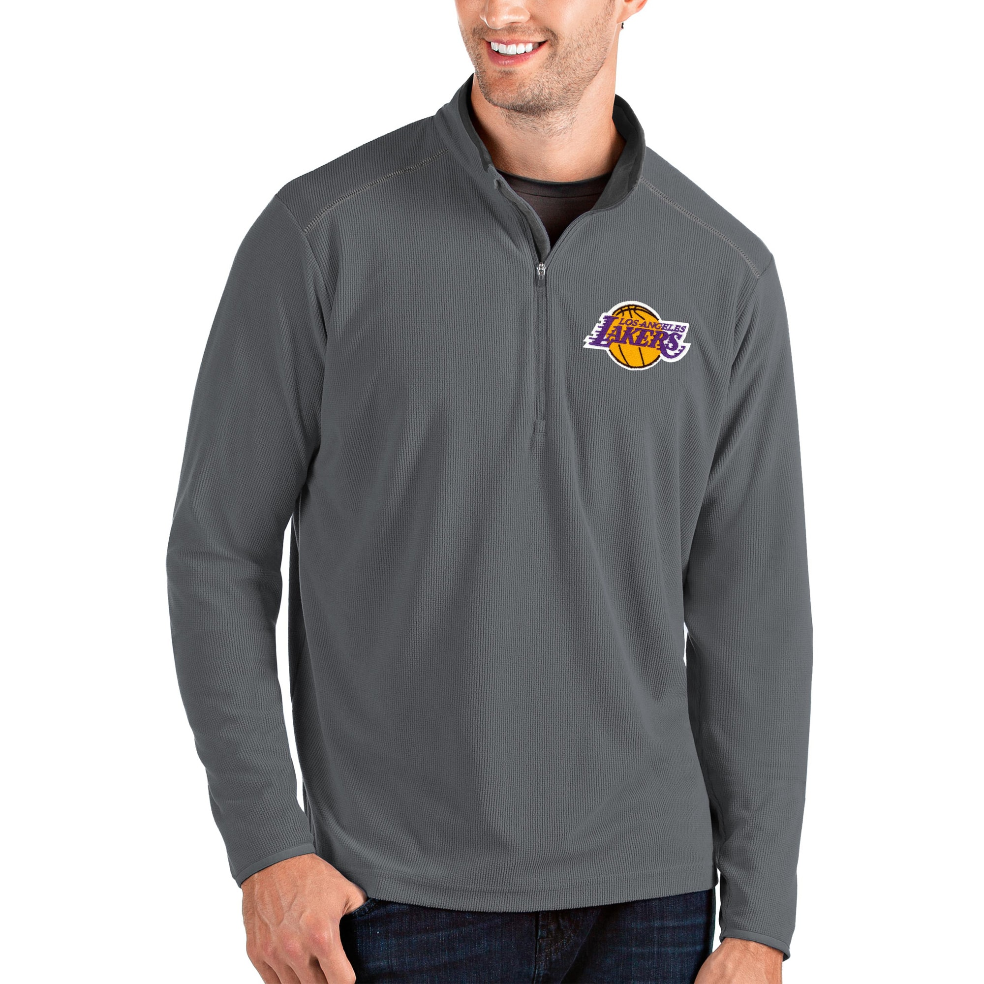 Los Angeles Lakers Antigua Glacier Quarter-Zip Pullover Jacket - Charcoal/Gray