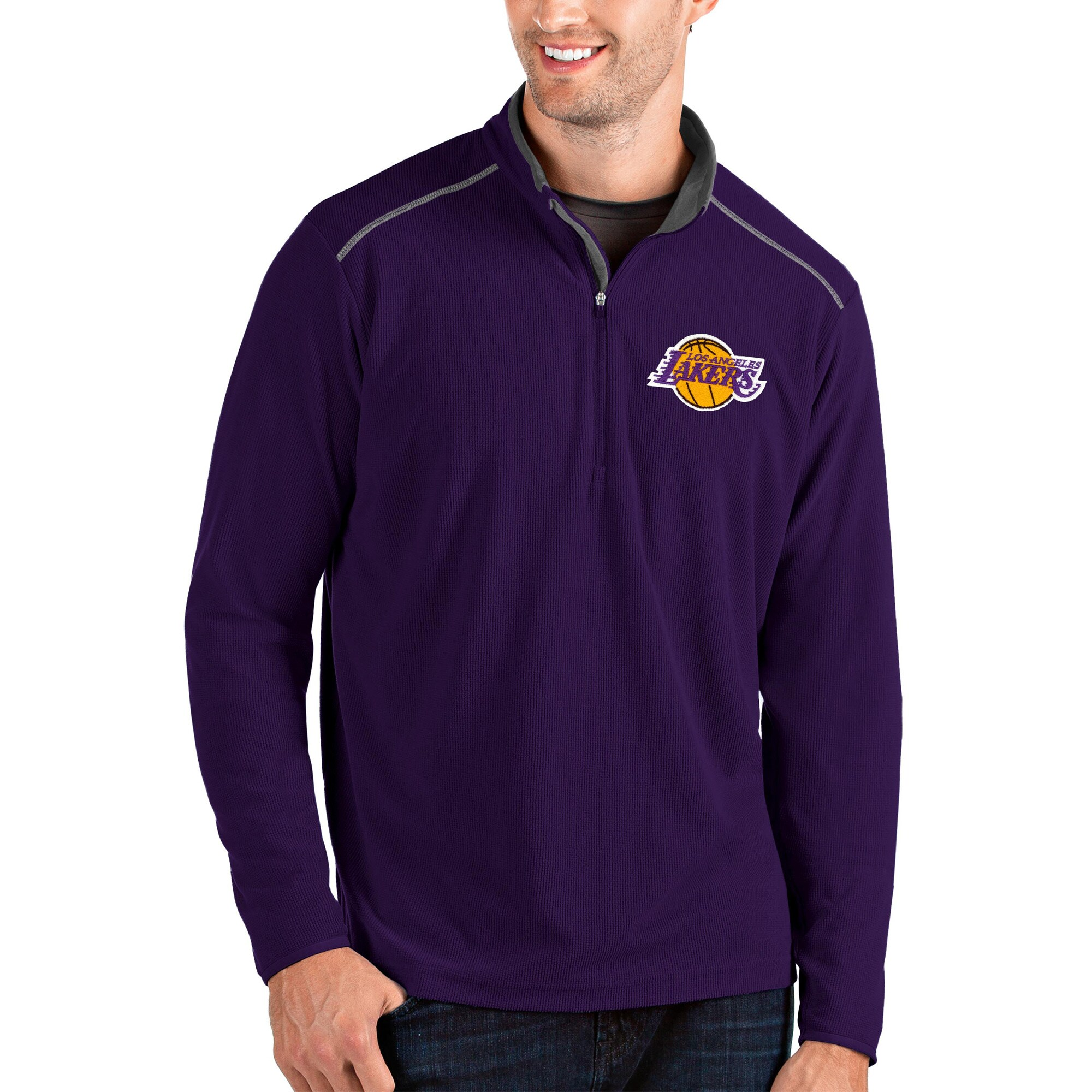 Los Angeles Lakers Antigua Glacier Quarter-Zip Pullover Jacket - Purple/Gray