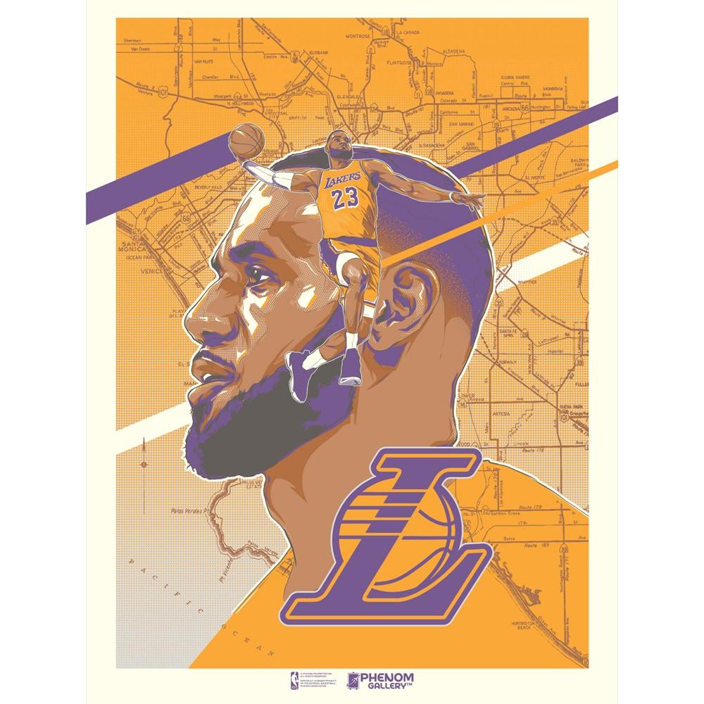 LeBron James Los Angeles Lakers 18'' x 24'' Unframed Serigraph Print