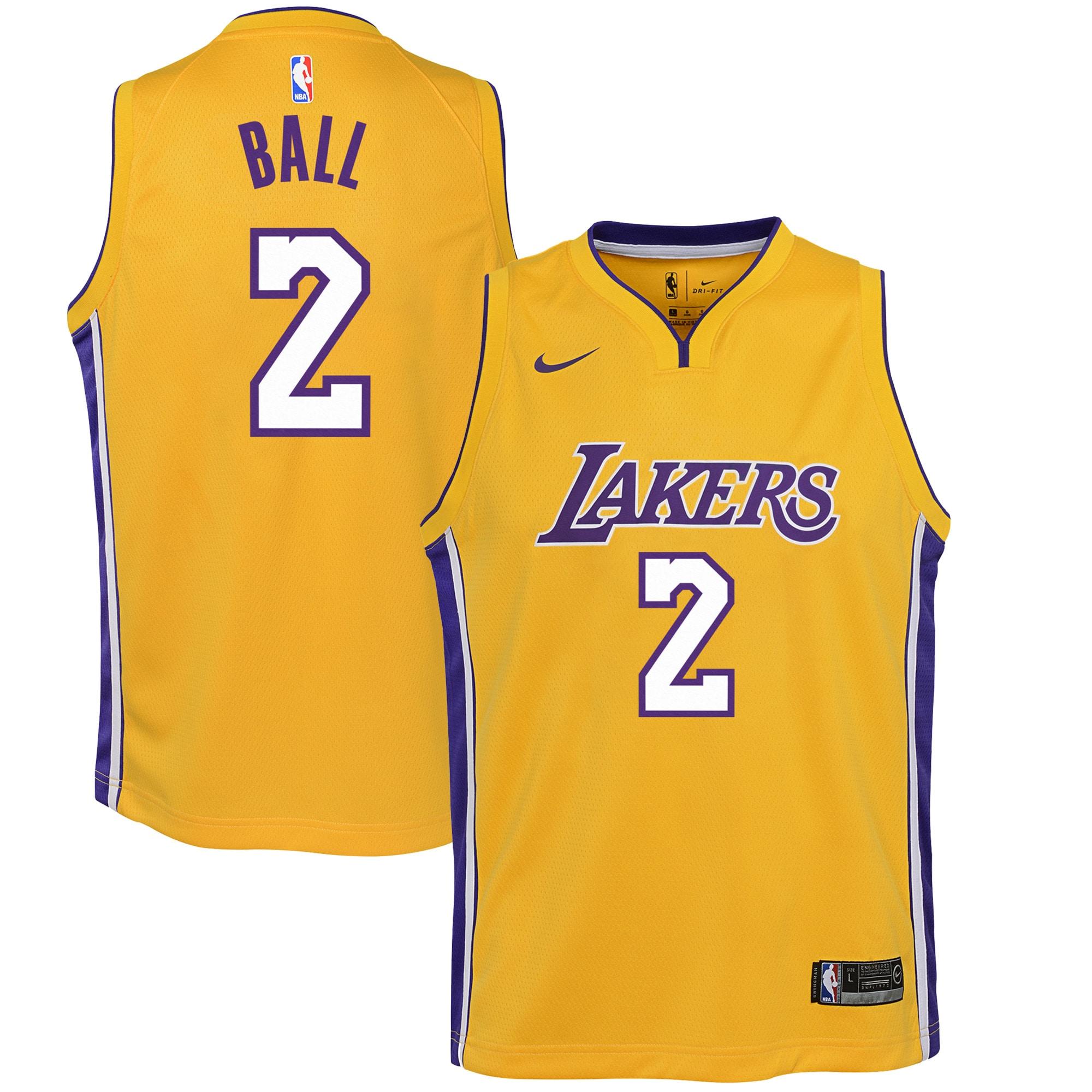 Lonzo Ball Los Angeles Lakers Nike Youth Swingman Jersey Yellow - Icon Edition
