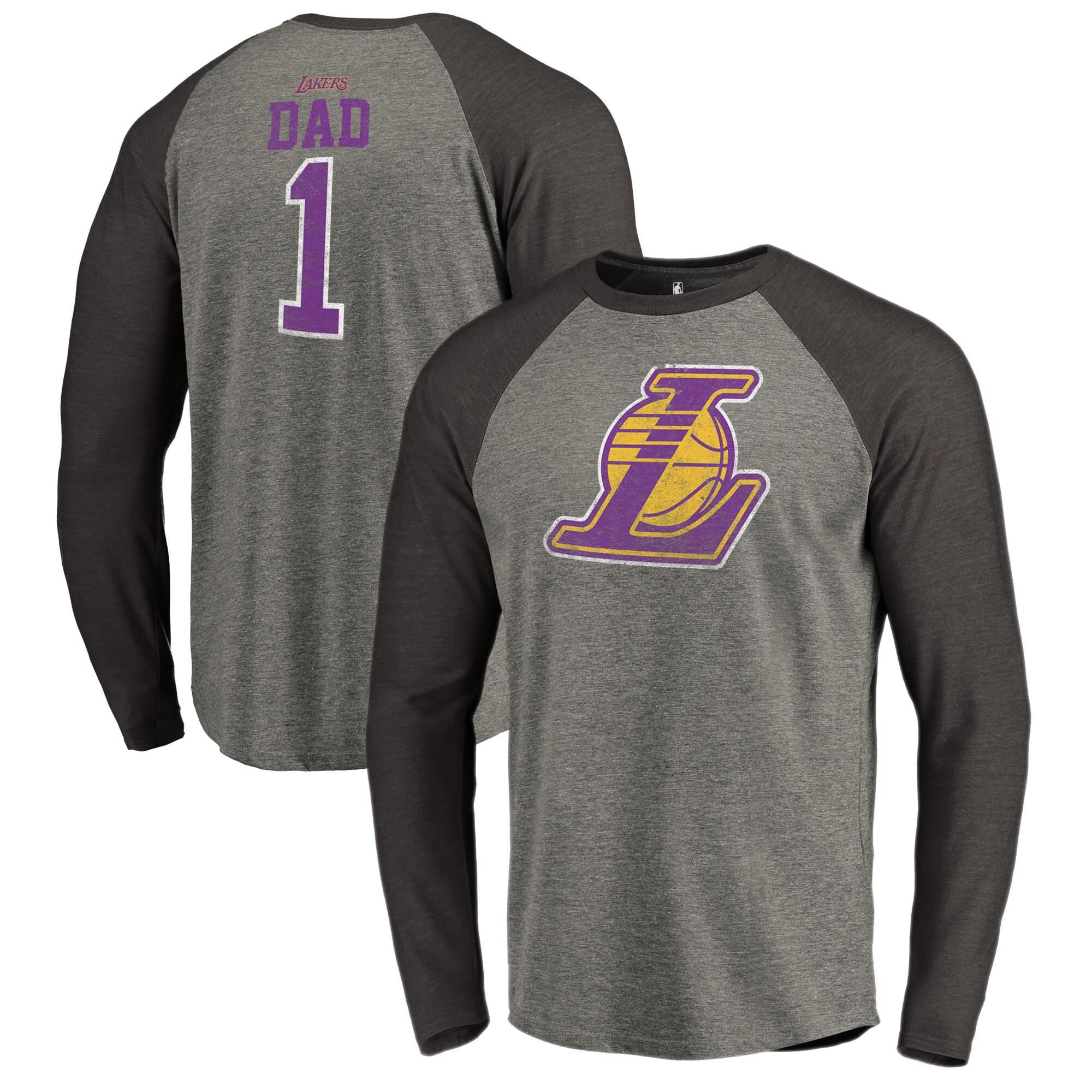 Los Angeles Lakers Fanatics Branded Greatest Dad Long Sleeve Tri-Blend Raglan T-Shirt - Heathered Gray
