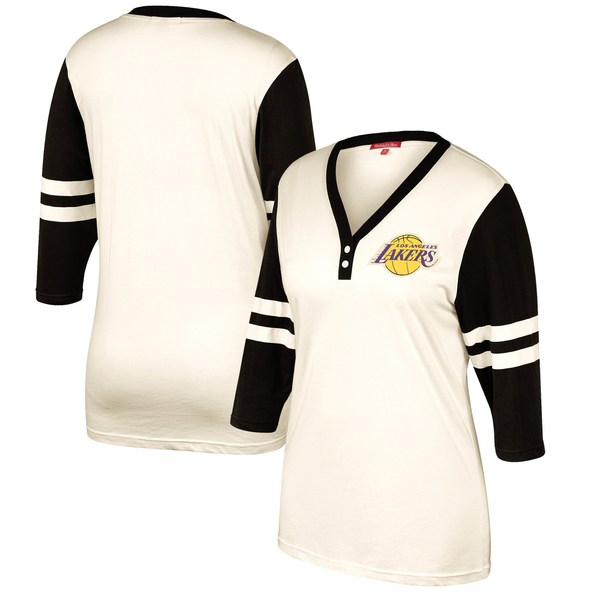 Los Angeles Lakers Mitchell & Ness Women's Hardwood Classics Shoot Out V-Neck 3/4-Sleeve T-Shirt - Cream