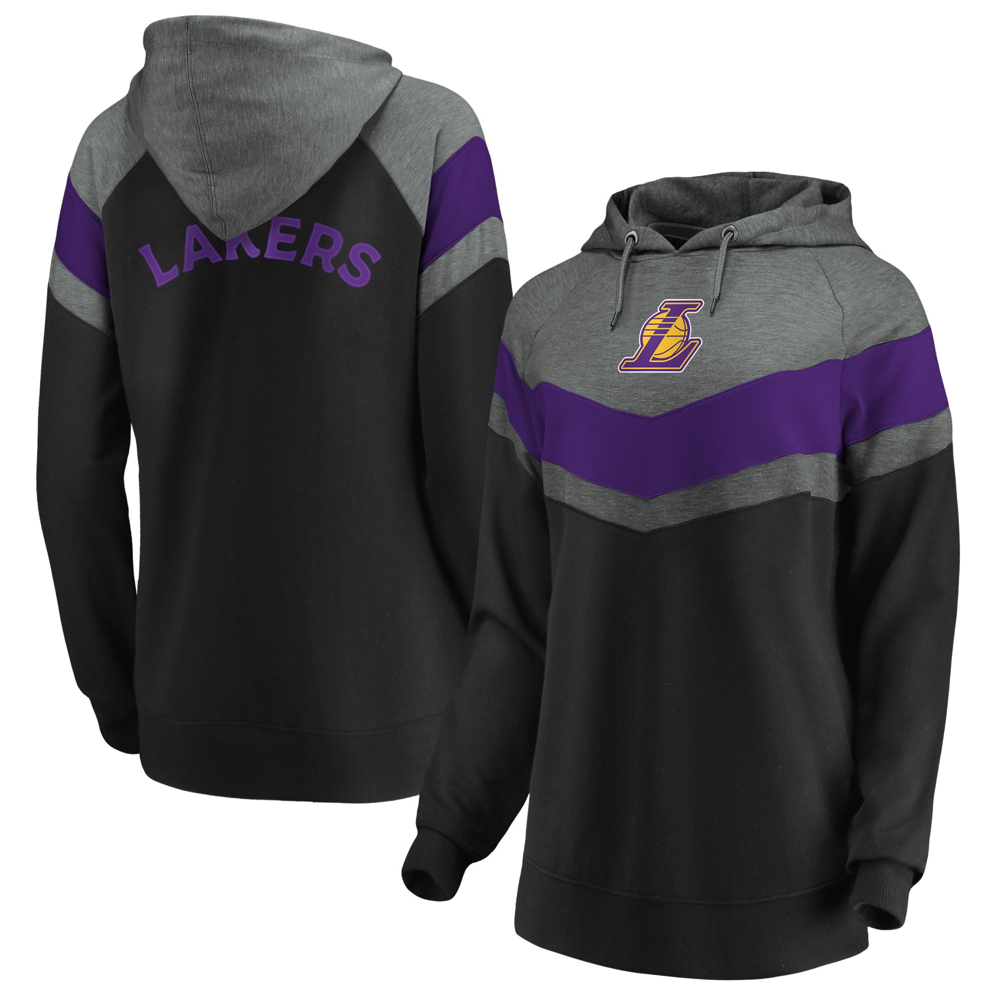 Los Angeles Lakers Fanatics Branded Women's True Classics Go All Out Chevron Pullover Hoodie - Gray/Black